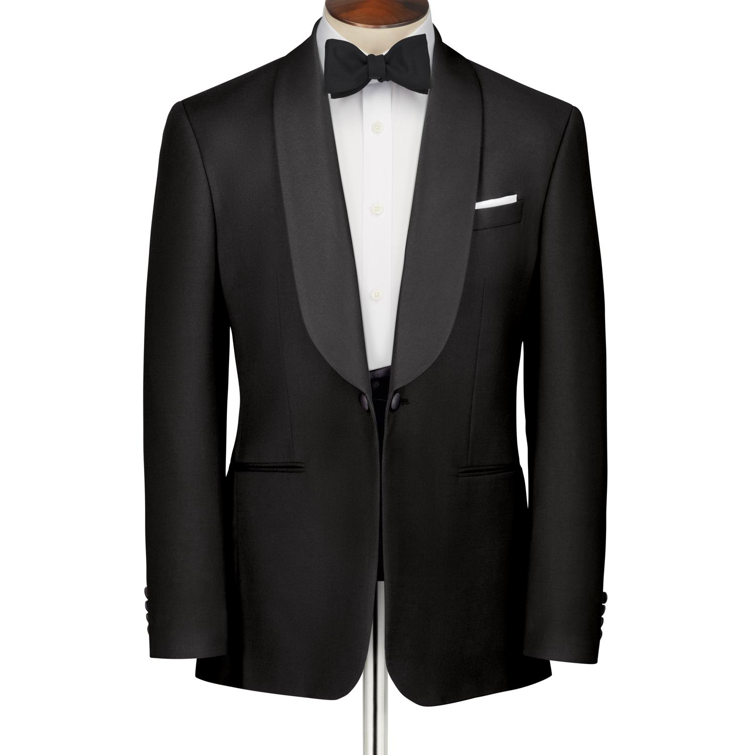 Black slim fit shawl collar tuxedo jacket