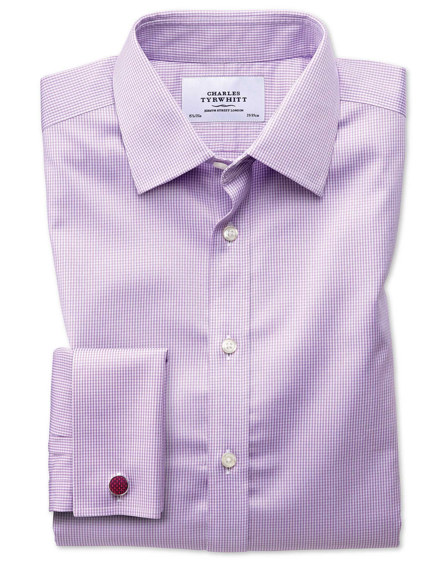 Extra Slim Fit Non-Iron Puppytooth Lilac Cotton Formal Shirt Single Cuff Size 15.5/32 by Charles Tyr