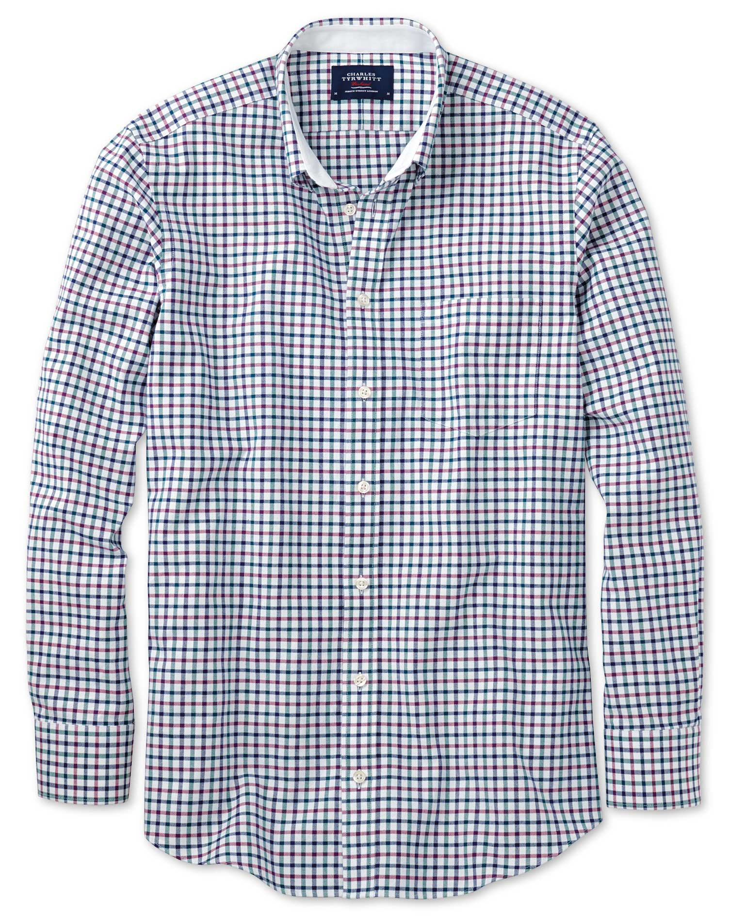Slim Fit Navy and Berry Check Washed Oxford Cotton Shirt Single Cuff Size XS by Charles Tyrwhitt