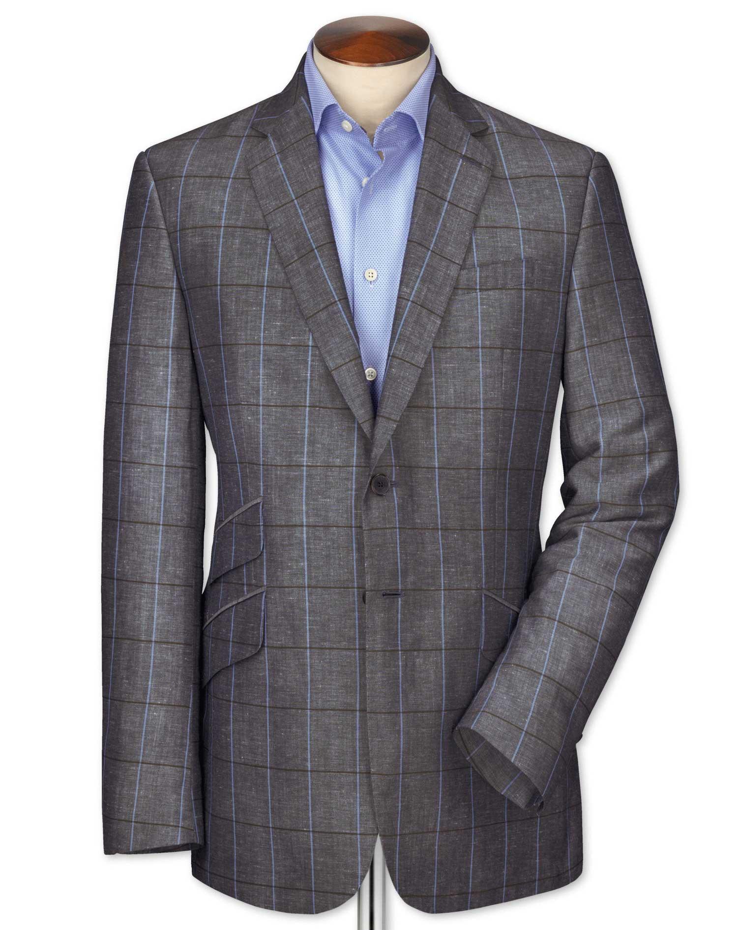 Slim Fit Navy Checkered Luxury Wool Linen Wool Jacket Size 44 Regular by Charles Tyrwhitt