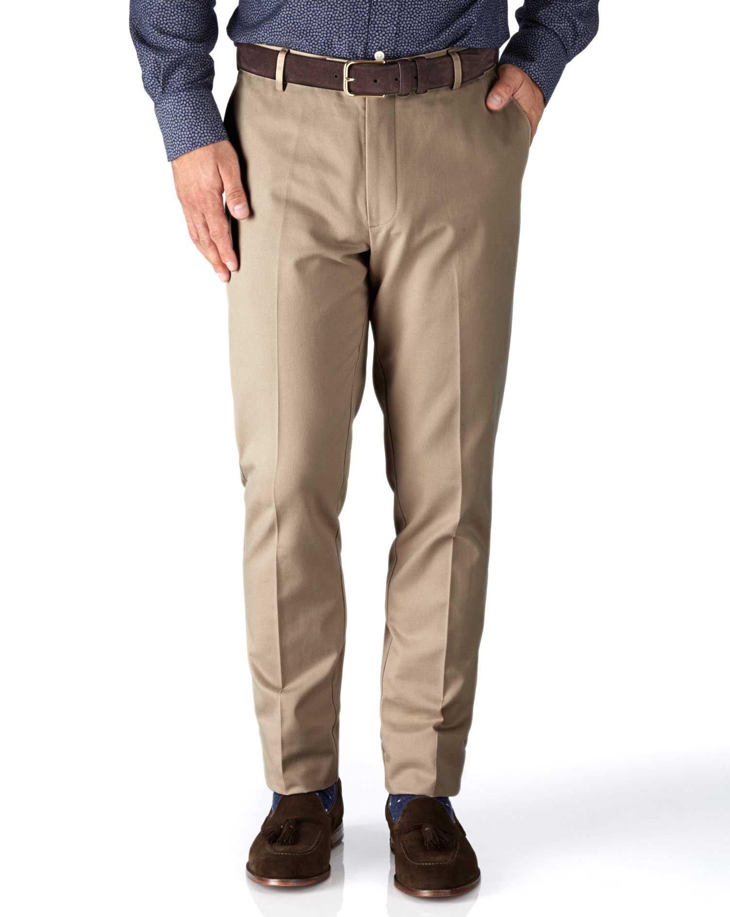 Stone Slim Fit Flat Front Non-Iron Cotton Chino Trousers Size W38 L34 by Charles Tyrwhitt