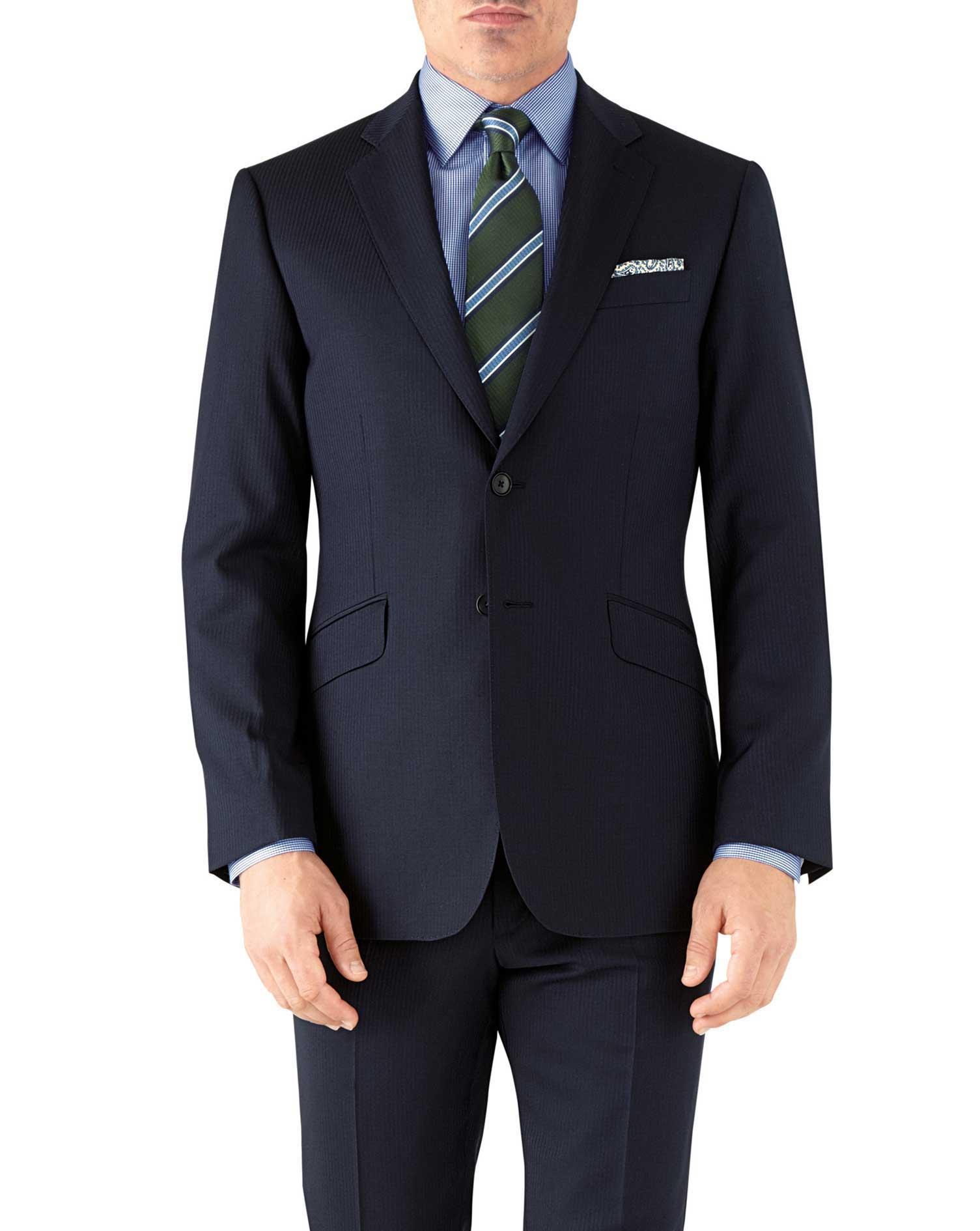 Navy Herringbone Classic Fit Italian Suit Wool Jacket Size 44 Long by Charles Tyrwhitt