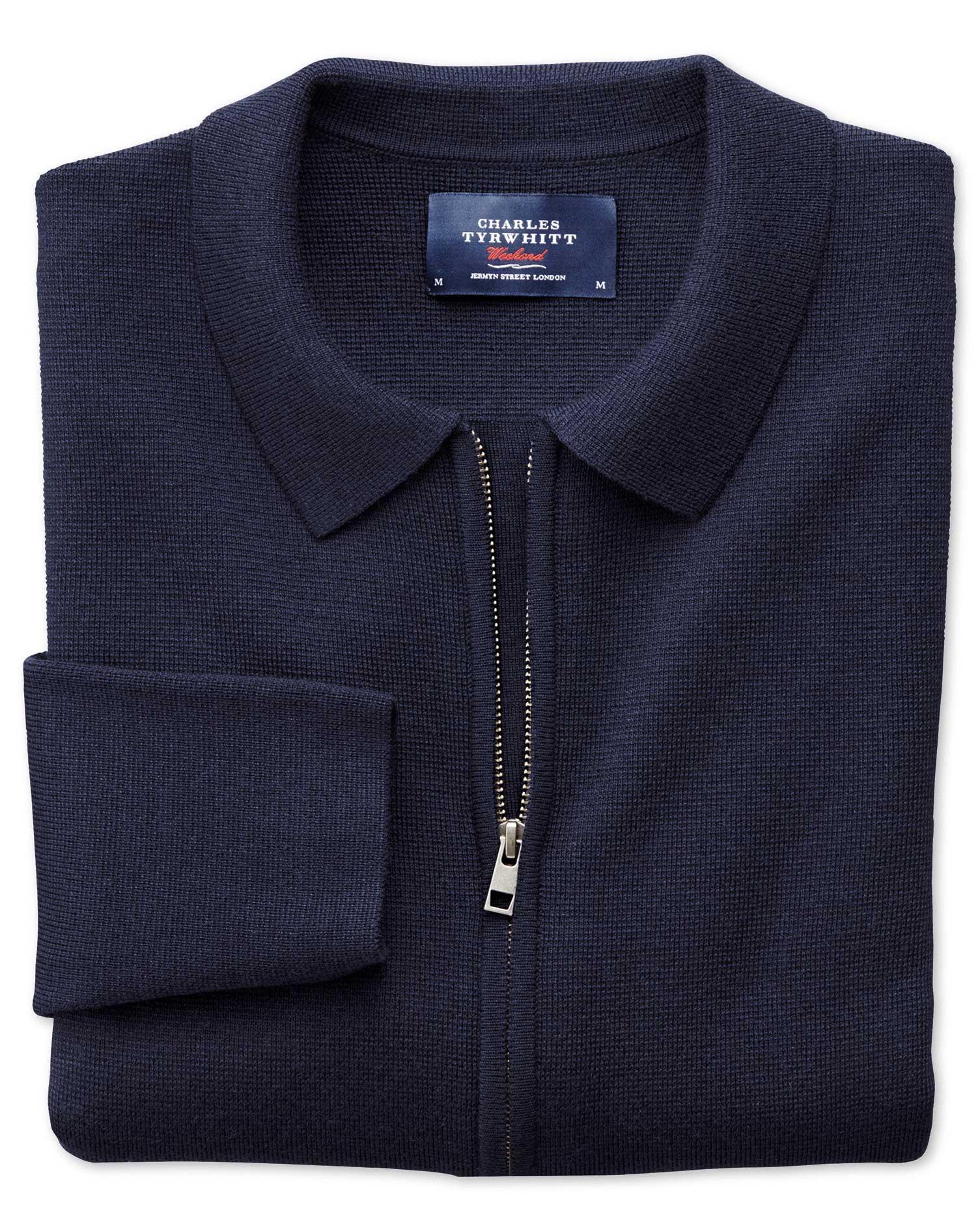 Navy Merino Wool Zip Jacket Size Small by Charles Tyrwhitt