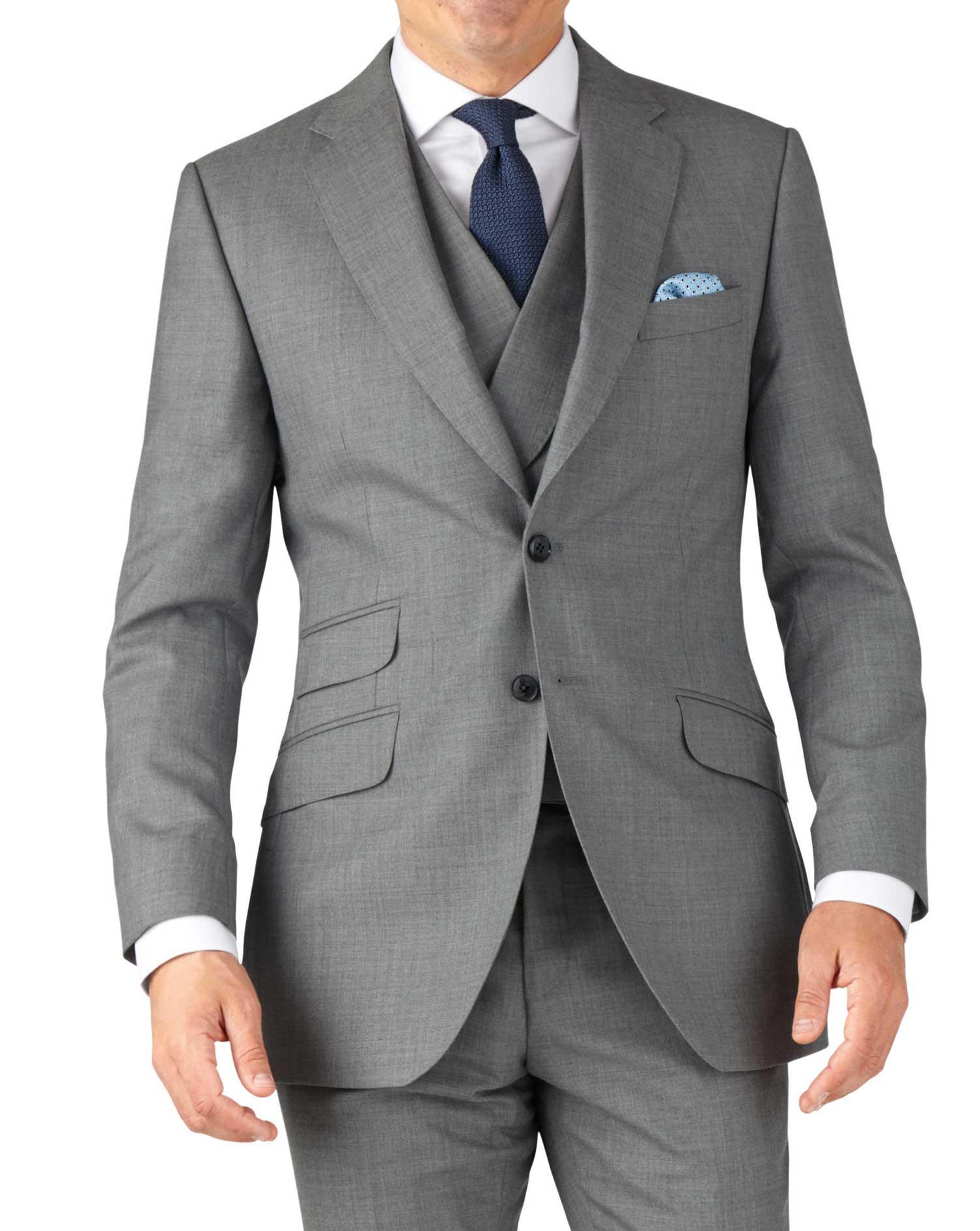 Silver Slim Fit British Panama Luxury Suit Wool Jacket Size 40 Short by Charles Tyrwhitt
