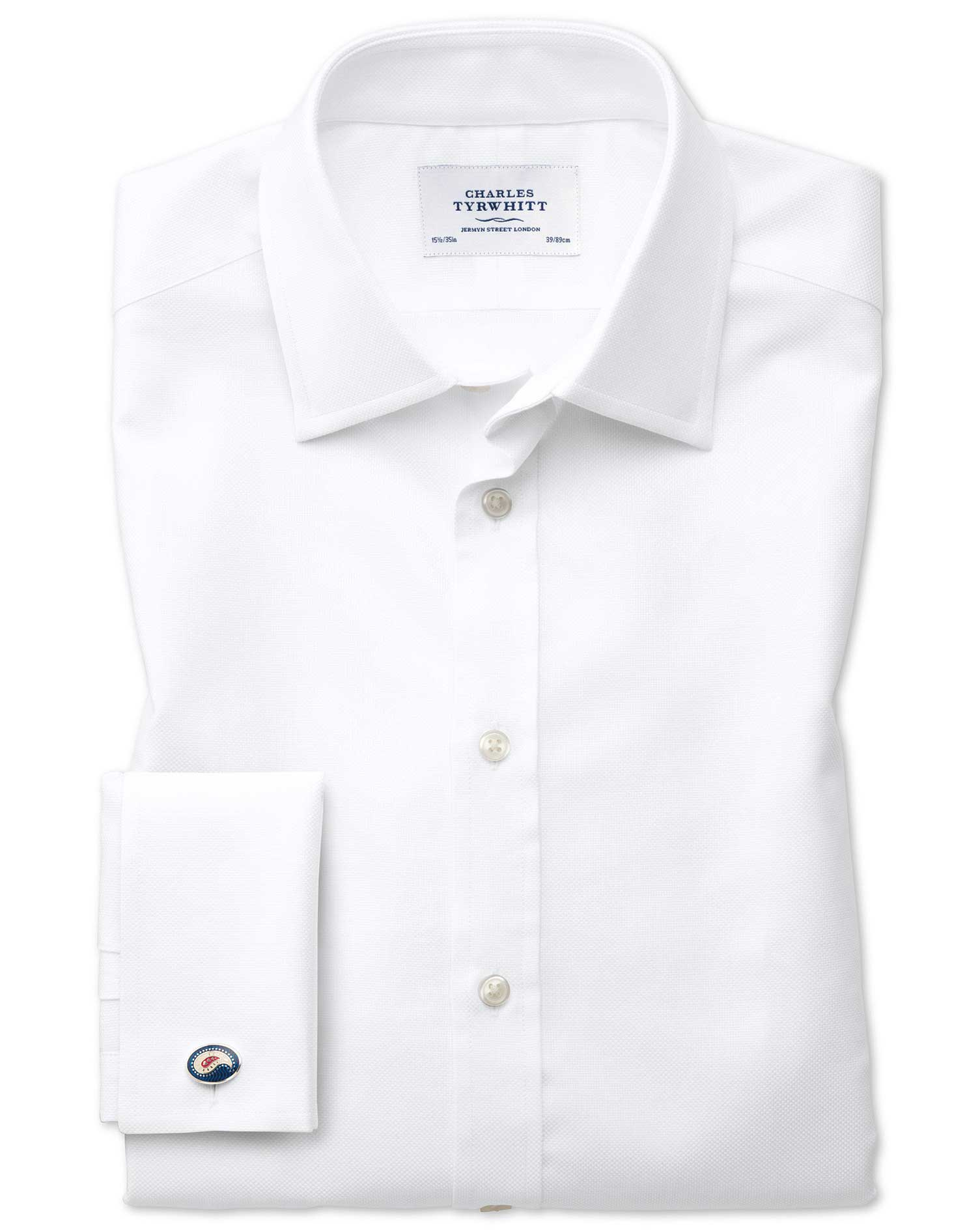 Classic Fit Egyptian Cotton Royal Oxford White Formal Shirt Single Cuff Size 16/35 by Charles Tyrwhi