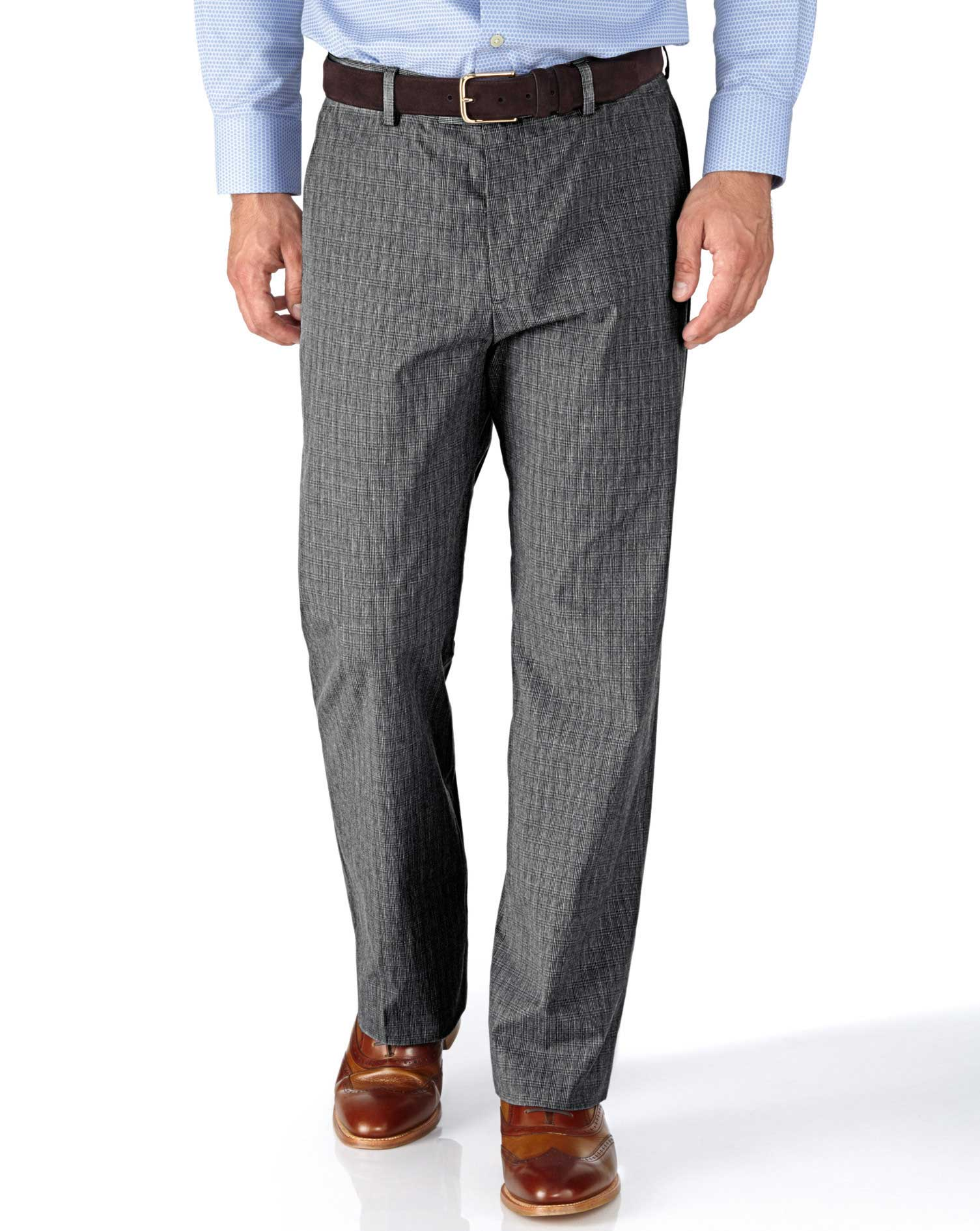 Grey Classic Fit Prince Of Wales Check Stretch Trousers Size W34 L34 by Charles Tyrwhitt