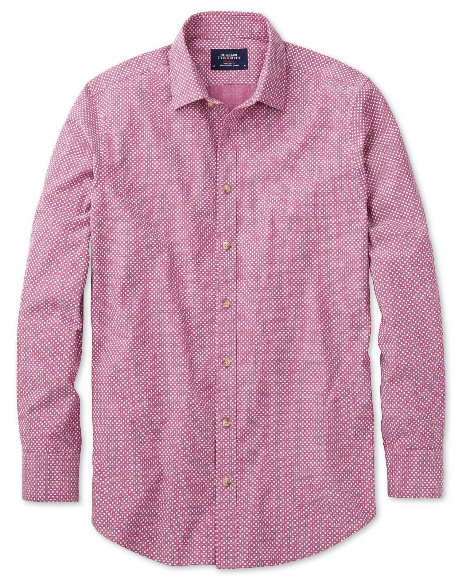 Slim Fit Berry Red and White Spot Print Cotton Shirt Single Cuff Size Medium by Charles Tyrwhitt