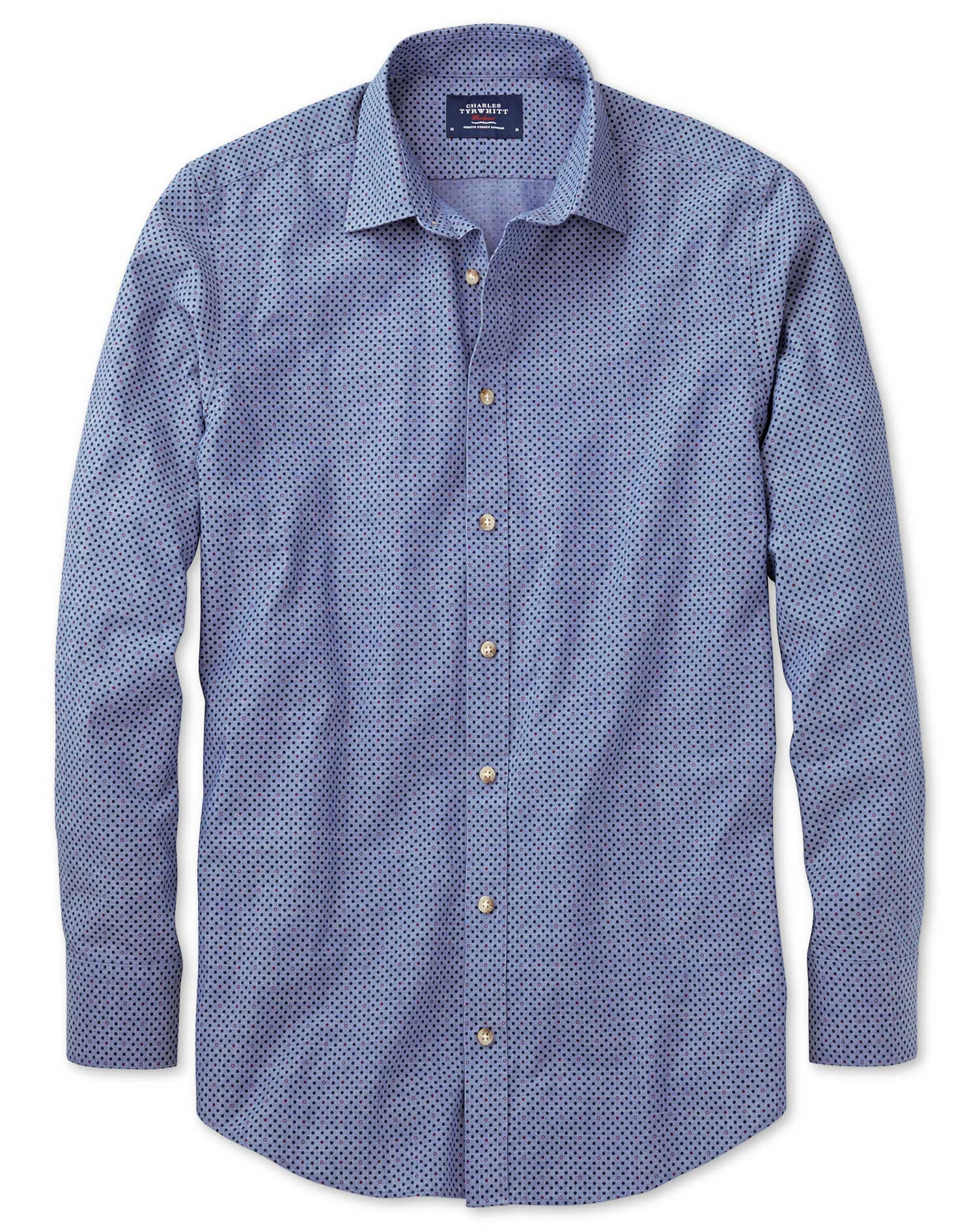 Classic Fit Blue and Purple Spot Print Cotton Shirt Single Cuff Size Large by Charles Tyrwhitt