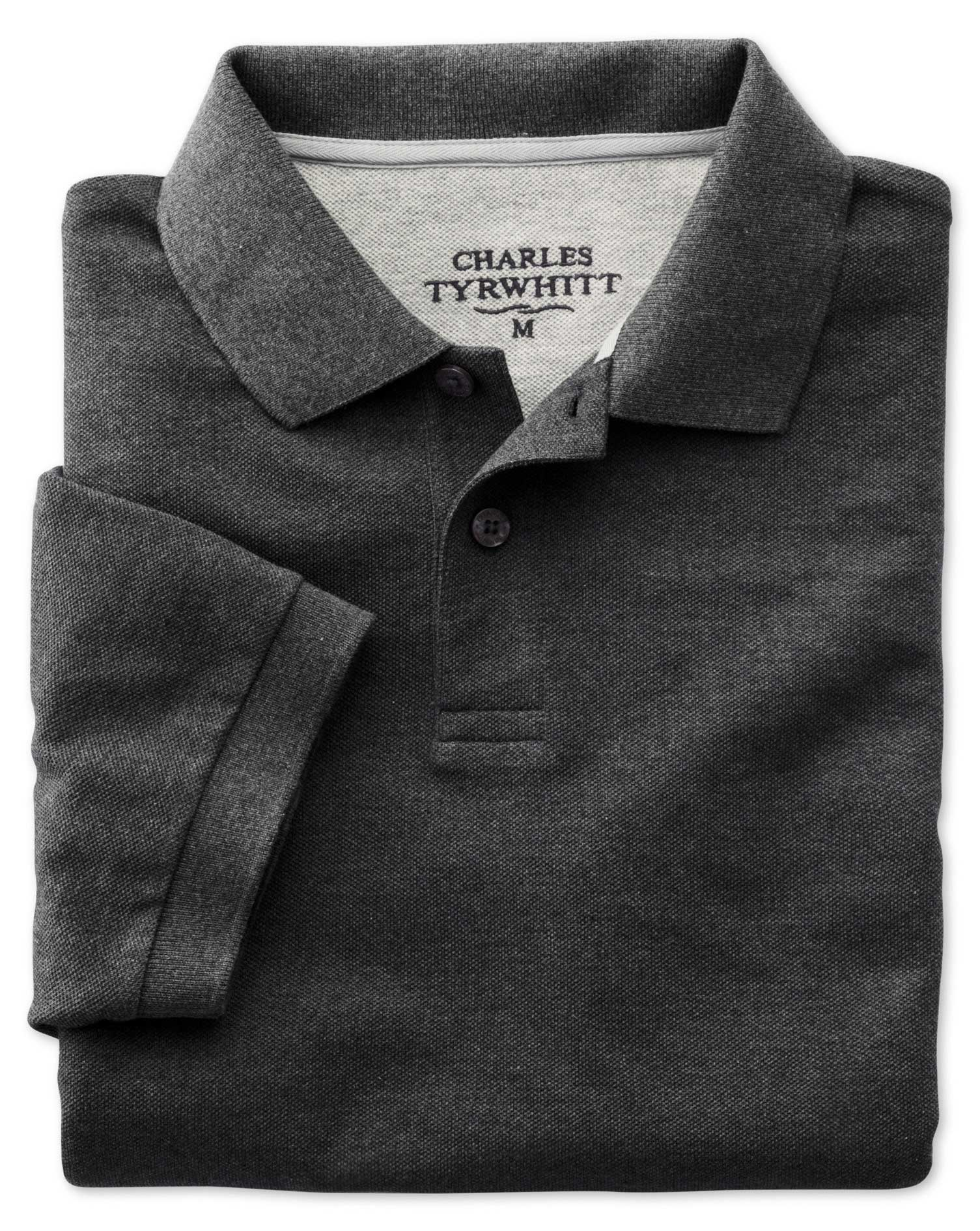 Charcoal Pique Cotton Polo Size Small by Charles Tyrwhitt