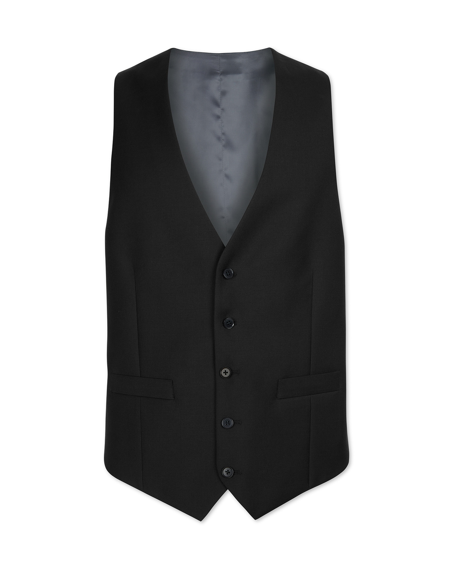 Black Adjustable Fit Twill Business Suit Wool Waistcoat Size w38 by Charles Tyrwhitt