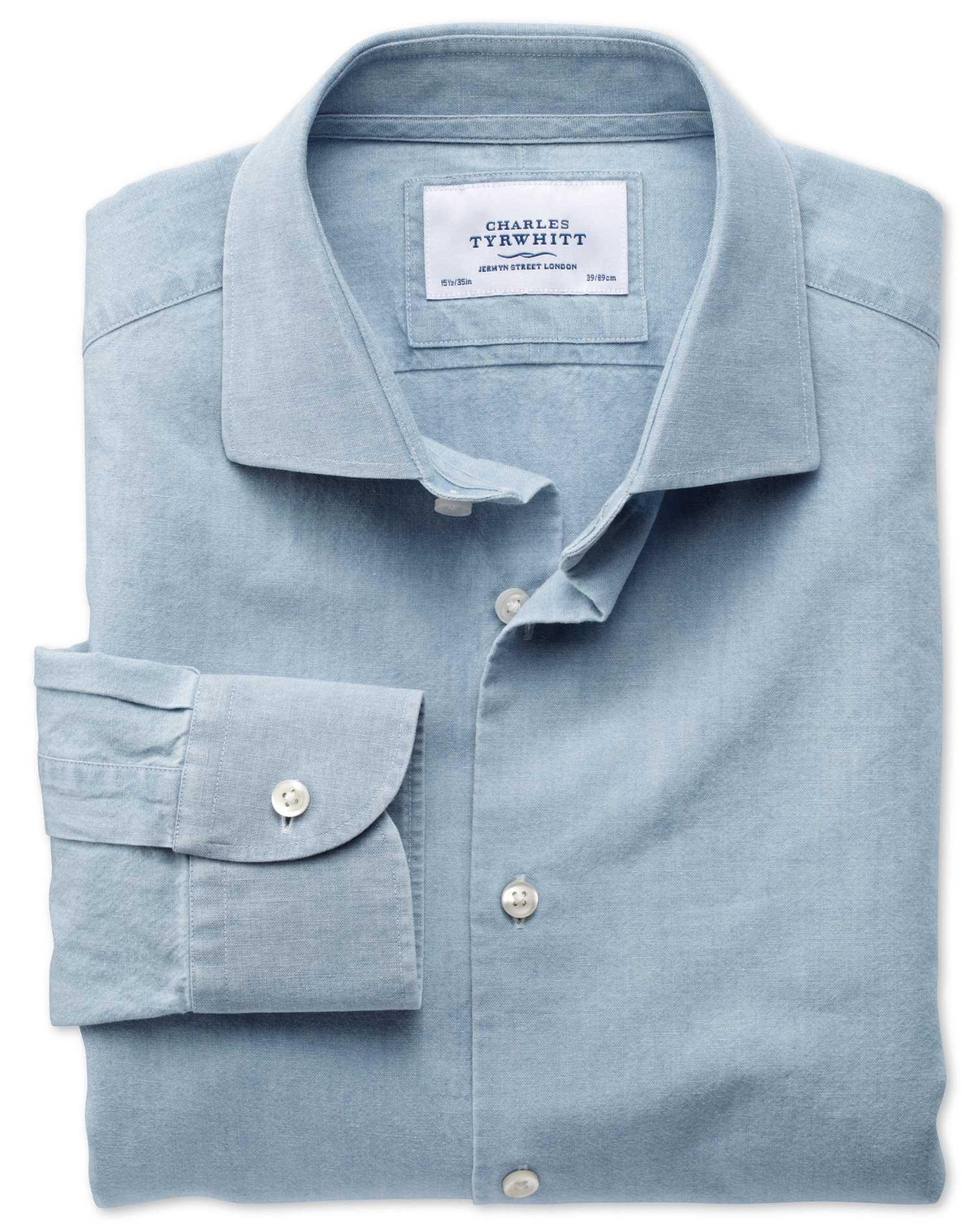 Extra Slim Fit Semi-Cutaway Collar Business Casual Chambray Denim Blue Cotton Formal Shirt Single Cu