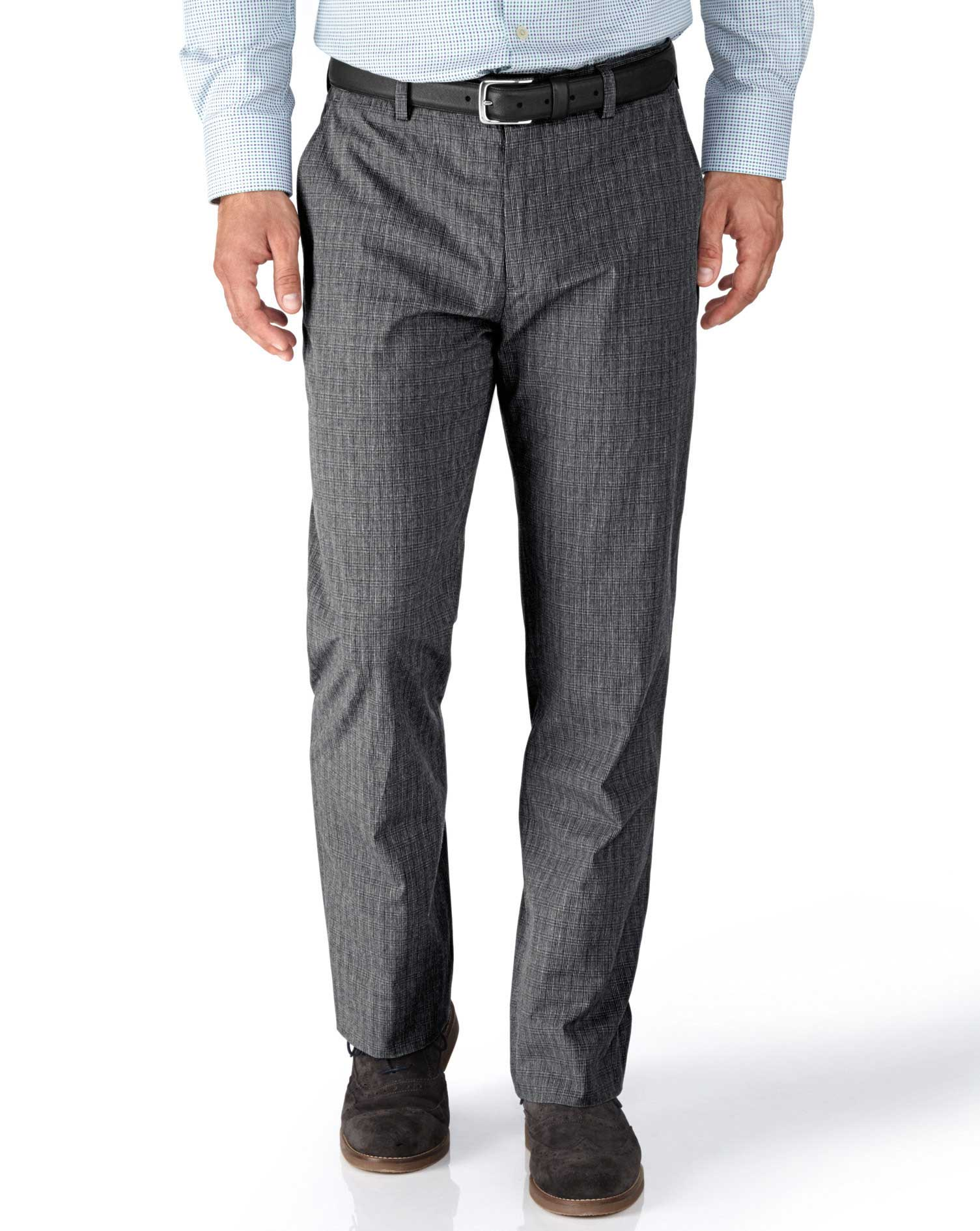 Grey Slim Fit Prince Of Wales Check Stretch Trousers Size W32 L32 by Charles Tyrwhitt