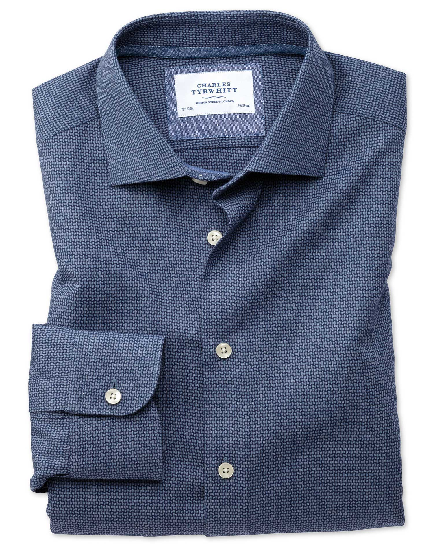 Slim fit semi spread collar business casual navy patterned for Spread collar dress shirt without tie