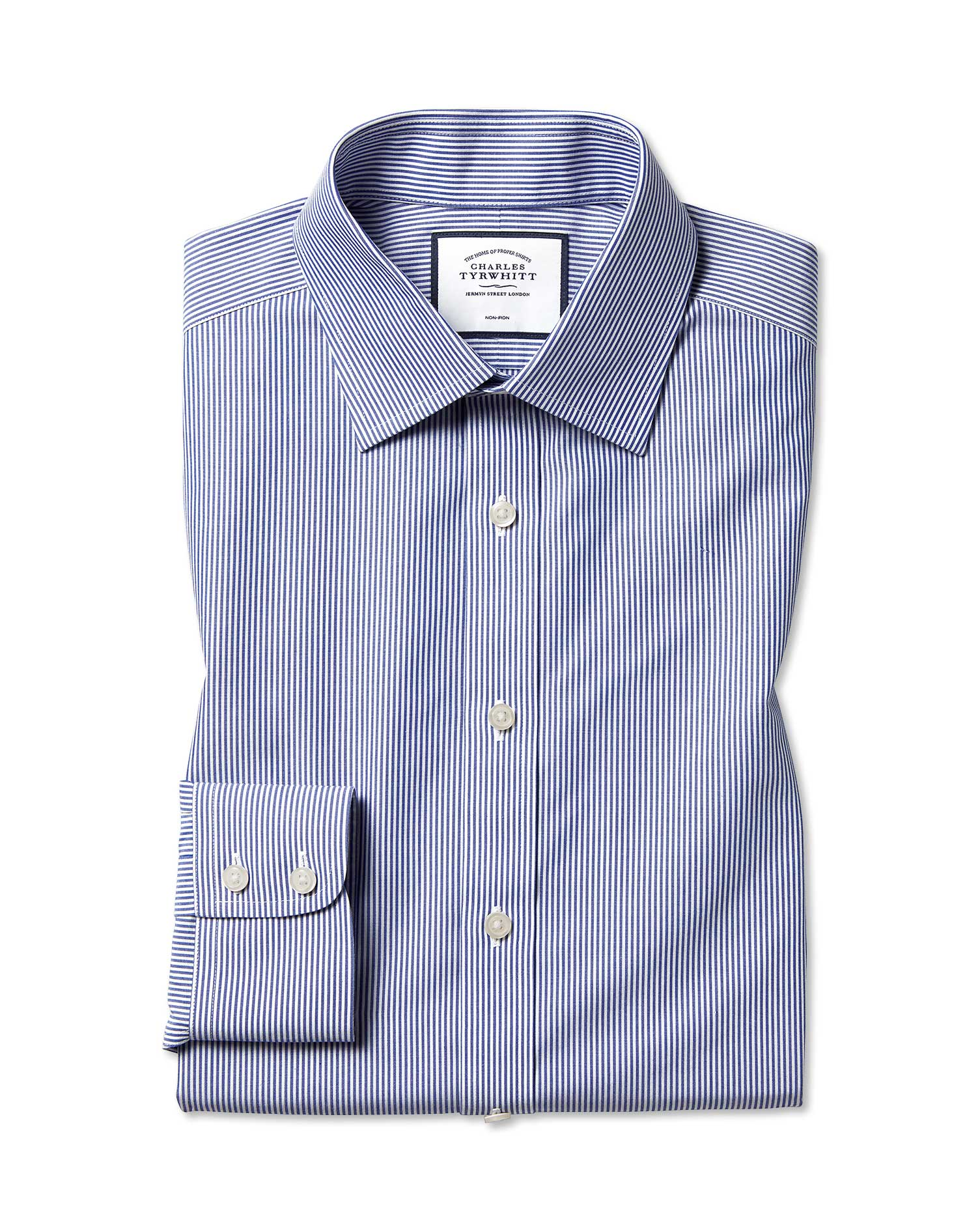 Classic Fit Non-Iron Bengal Stripe Navy Blue Cotton Formal Shirt Single Cuff Size 16/36 by Charles T
