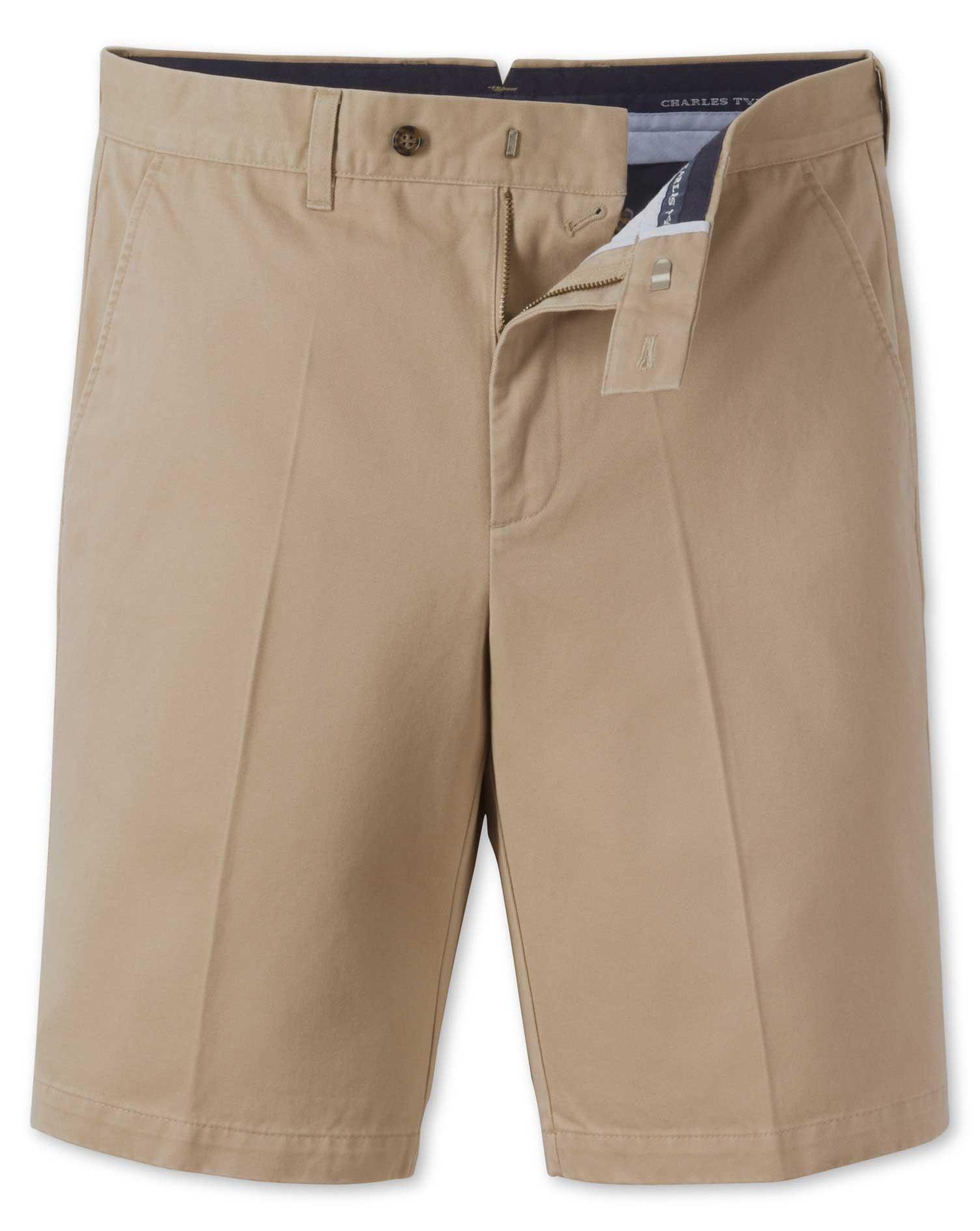 Stone Single Pleat Chino Cotton Shorts Size 30 by Charles Tyrwhitt