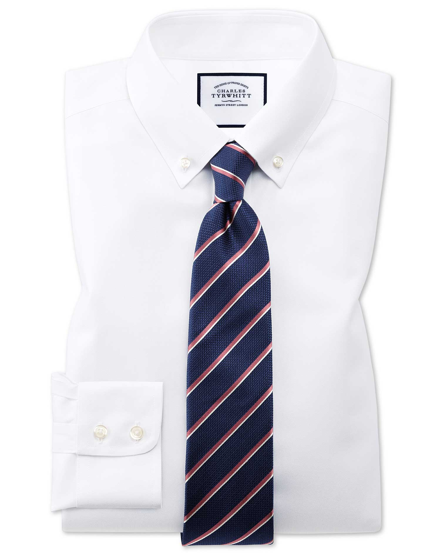 Extra Slim Fit Button-Down Non-Iron Twill White Cotton Formal Shirt Single Cuff Size 15.5/37 by Char