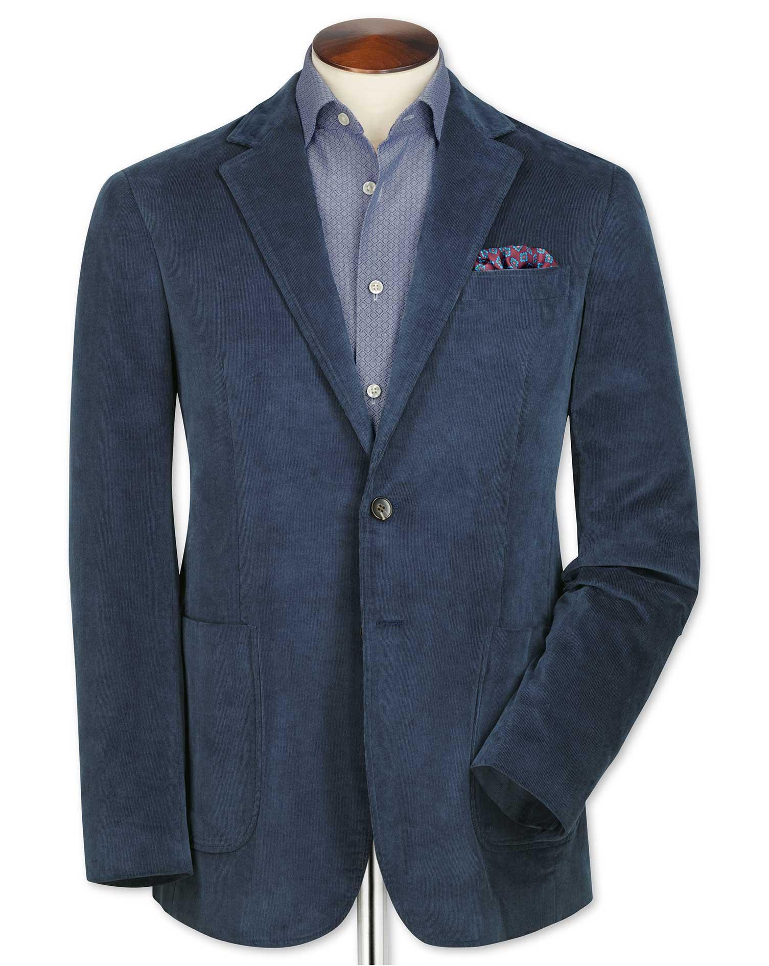 Slim Fit Blue Stretch Cord Cotton Jacket Size 38 Regular by Charles Tyrwhitt