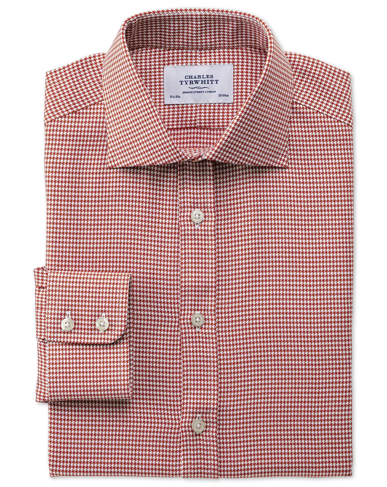 Extra Slim Fit Semi-Cutaway Collar Melange Puppytooth Copper Cotton Formal Shirt Single Cuff Size 16
