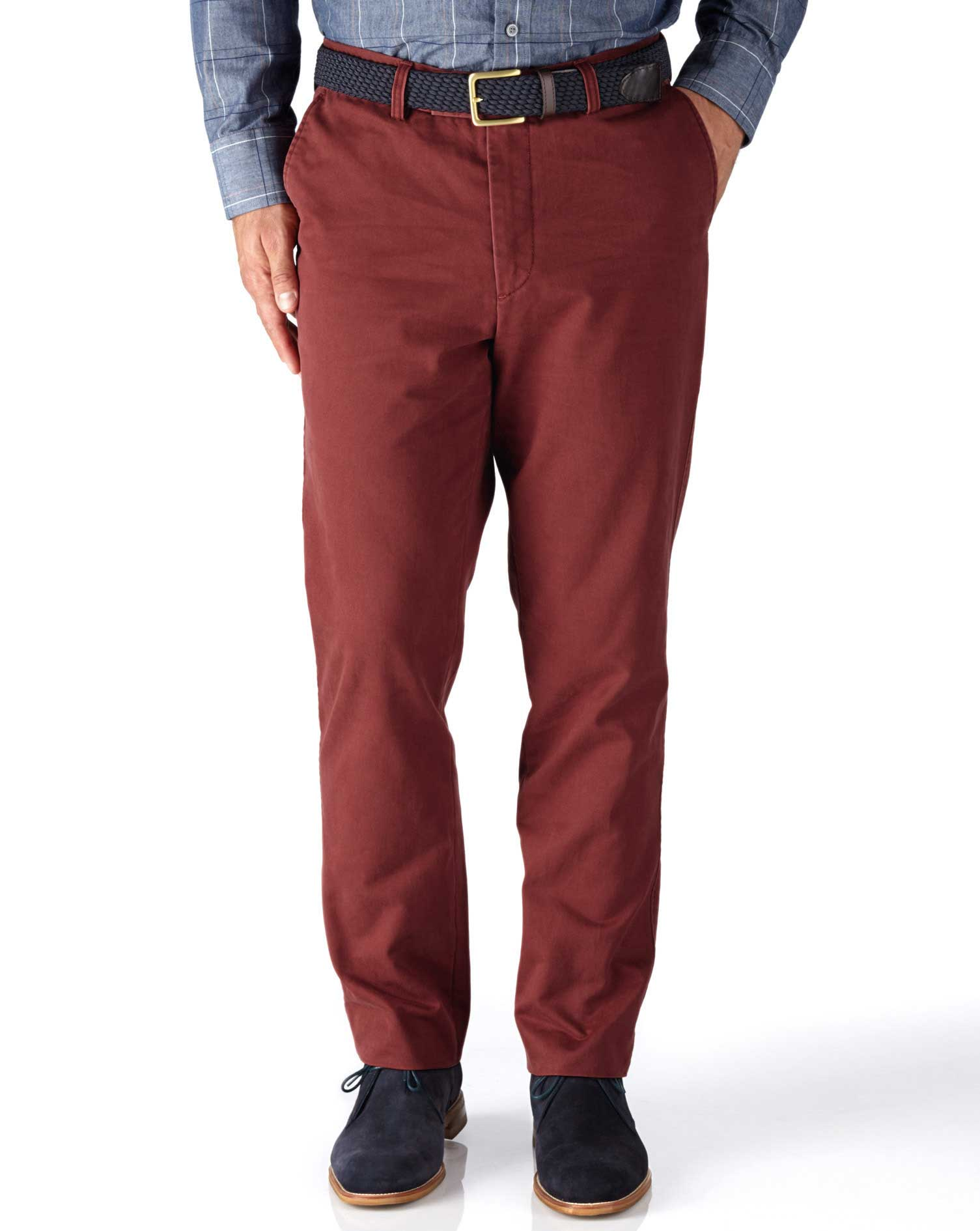 Red Classic Fit Flat Front Cotton Chino Trousers Size W32 L29 by Charles Tyrwhitt
