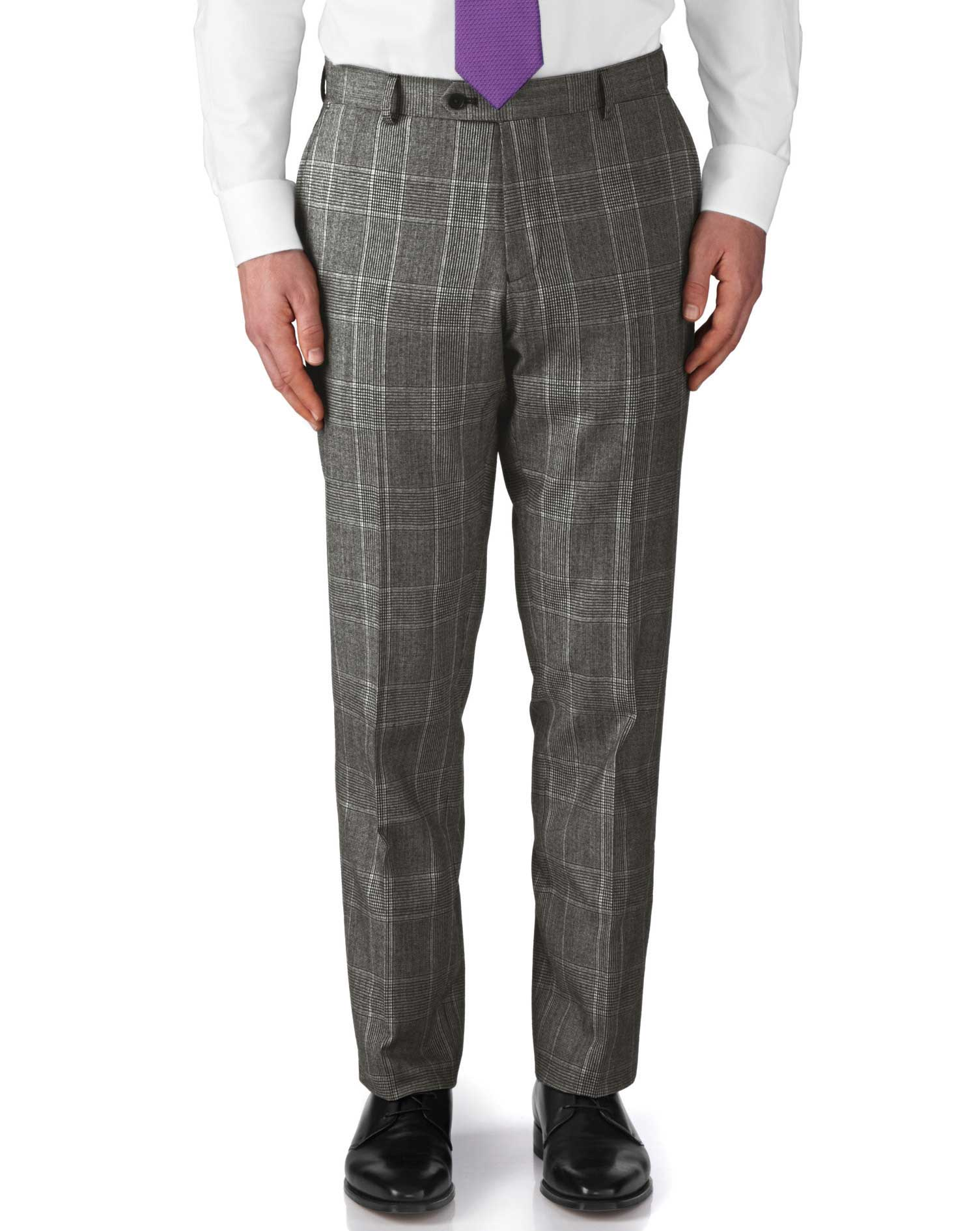Grey slim fit check business suit trousers | Charles Tyrwhitt
