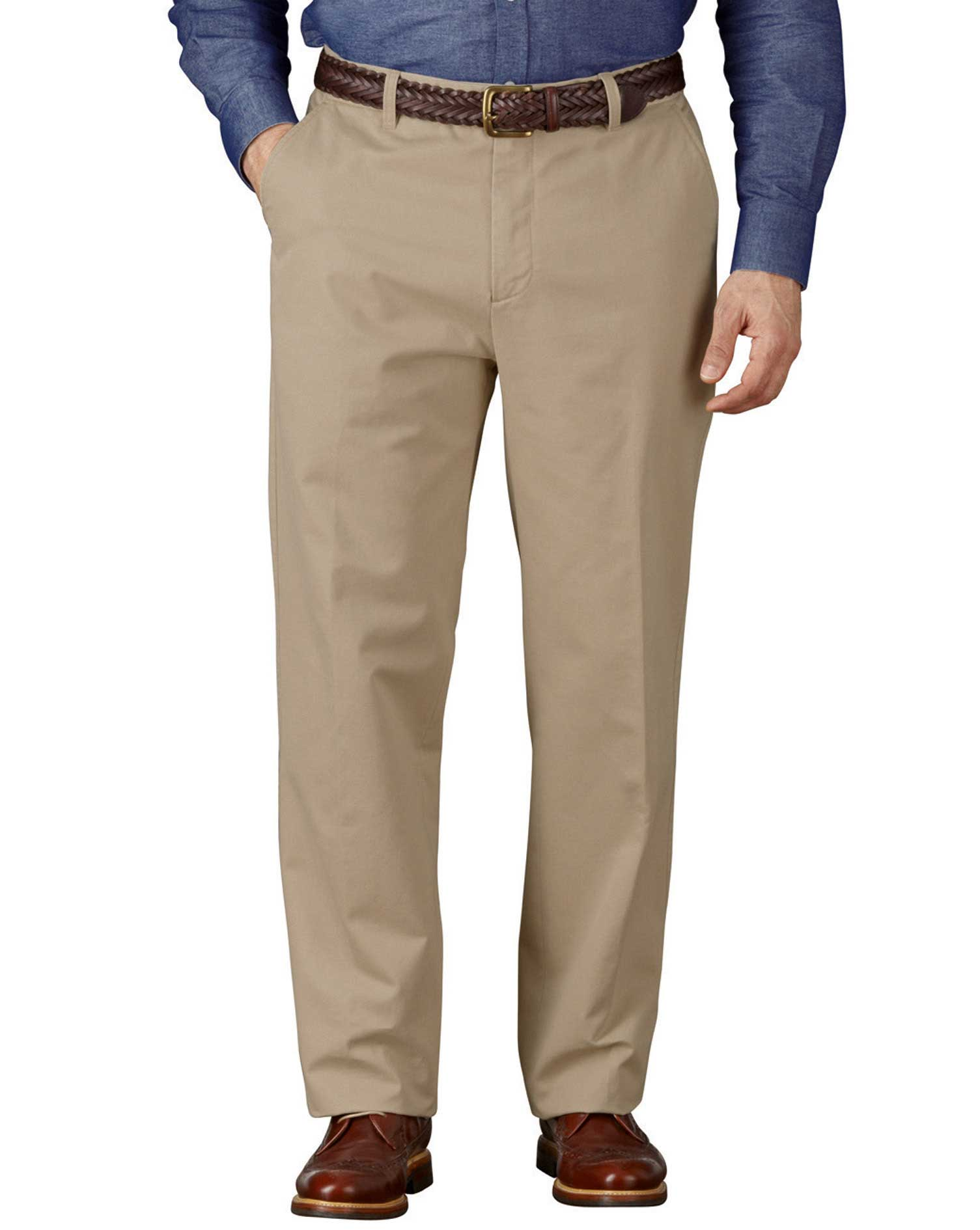 Stone Classic Fit Flat Front Weekend Cotton Chino Trousers Size W36 L38 by Charles Tyrwhitt