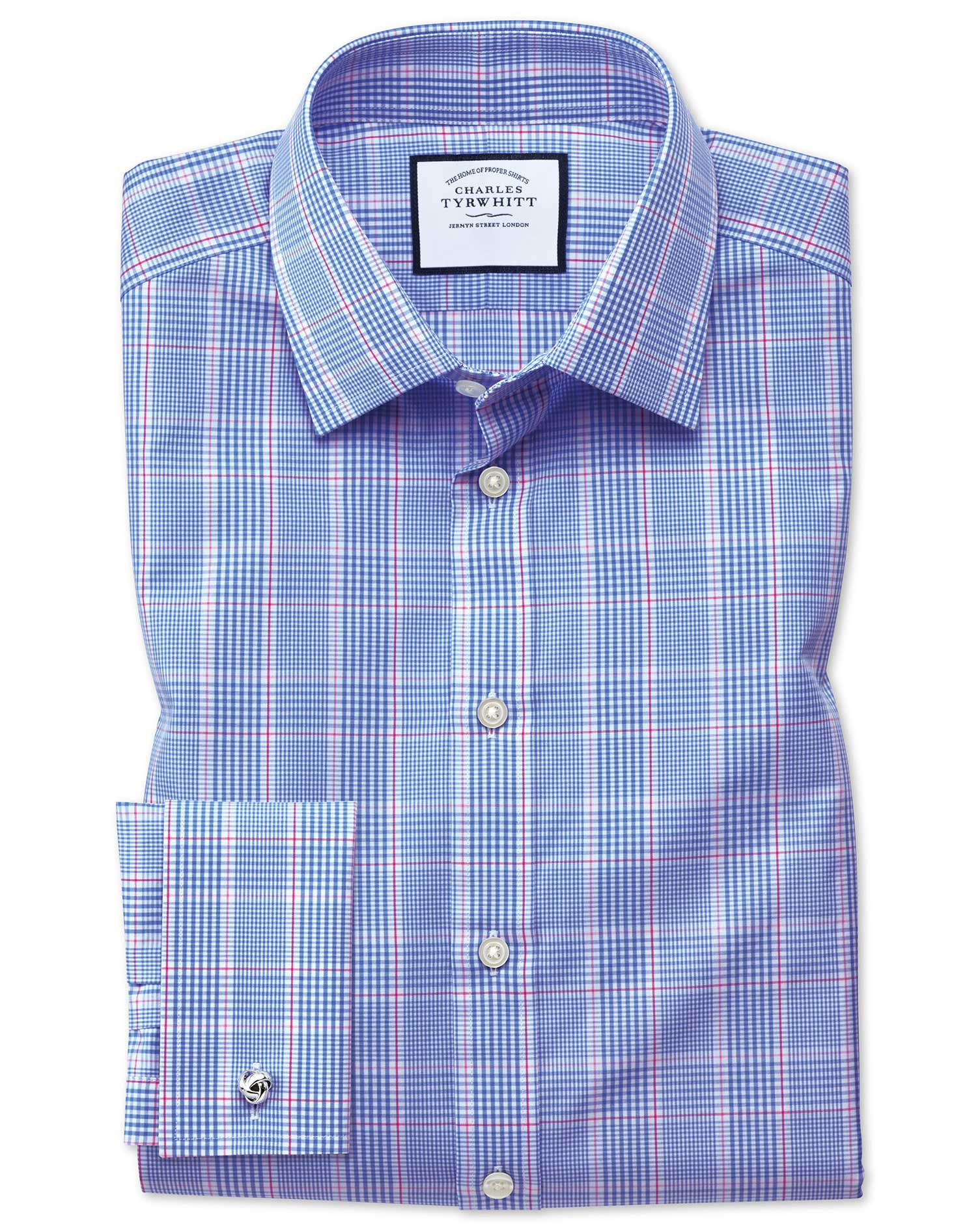 Extra Slim Fit Prince Of Wales Blue Cotton Formal Shirt Double Cuff Size 16/36 by Charles Tyrwhitt