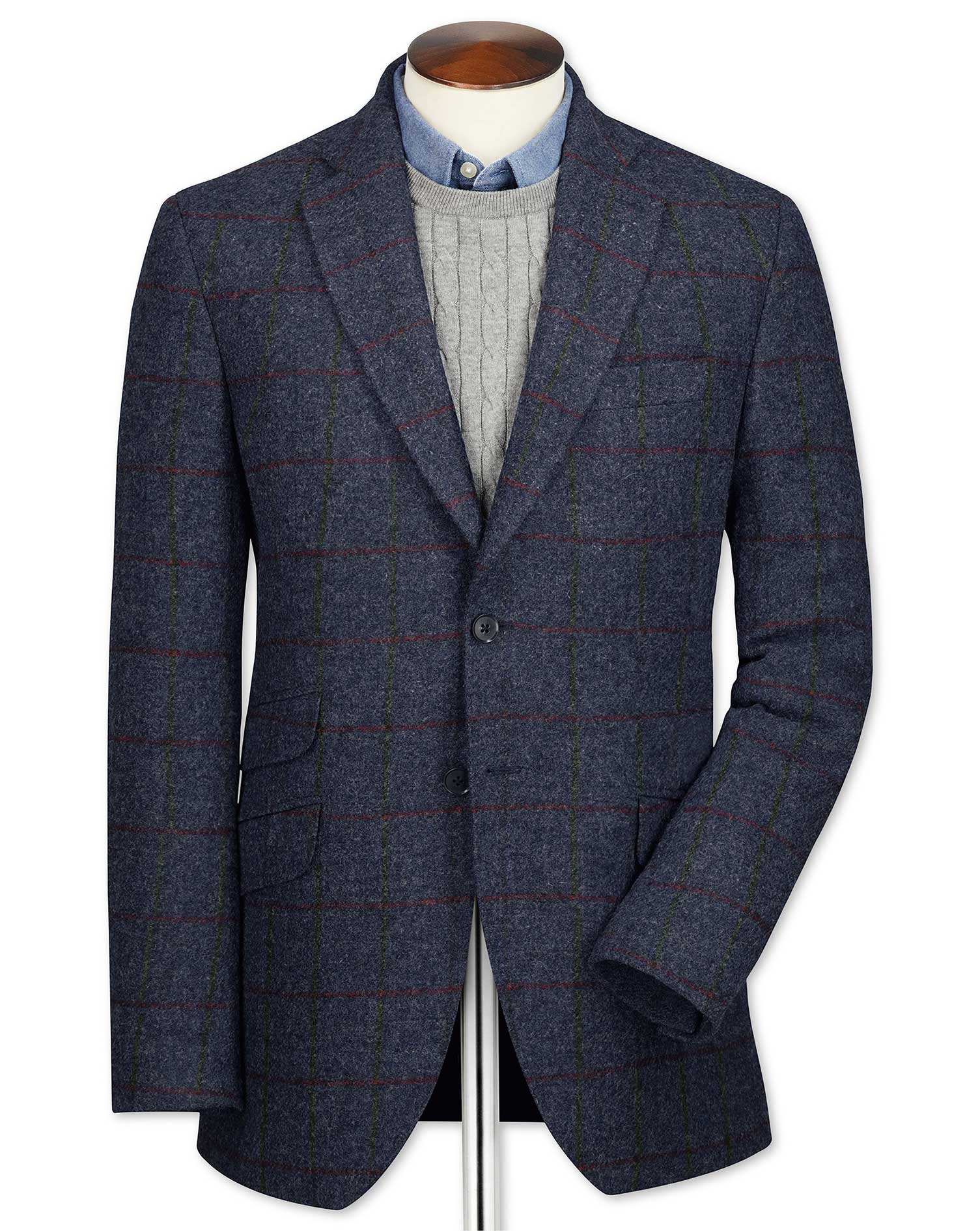 Slim Fit Navy Checkered British Tweed Wool Jacket Size 38 Regular by Charles Tyrwhitt