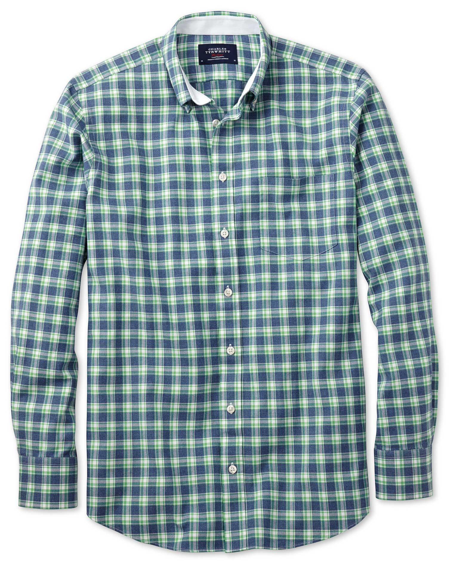 Slim Fit Blue and Green Check Washed Oxford Cotton Shirt Single Cuff Size Large by Charles Tyrwhitt
