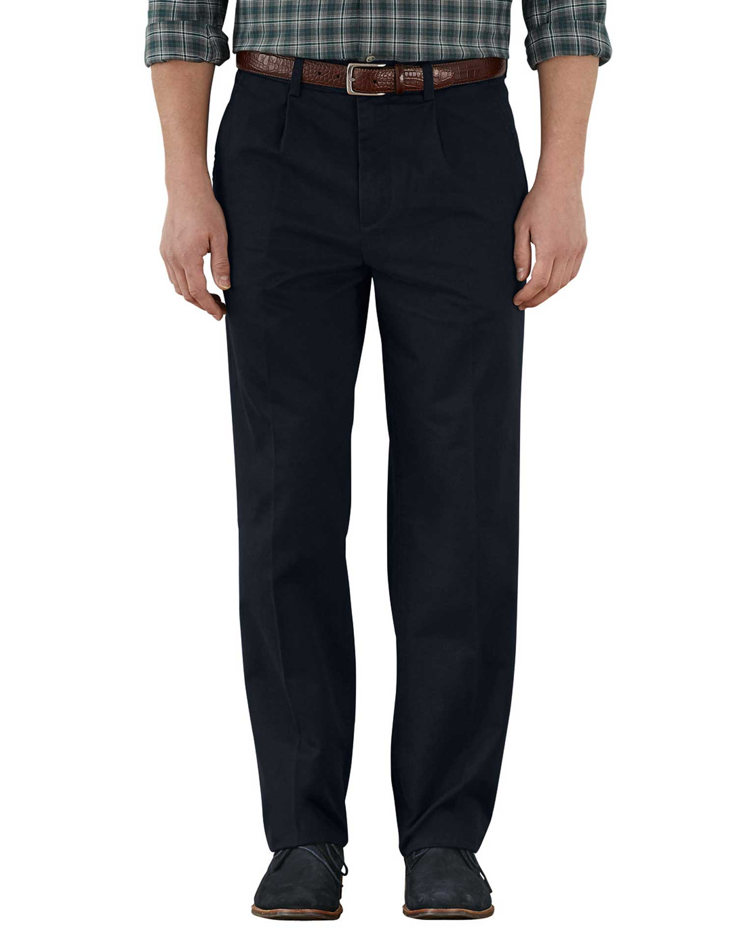 Navy Classic Fit Single Pleat Weekend Cotton Chino Trousers Size W36 L34 by Charles Tyrwhitt