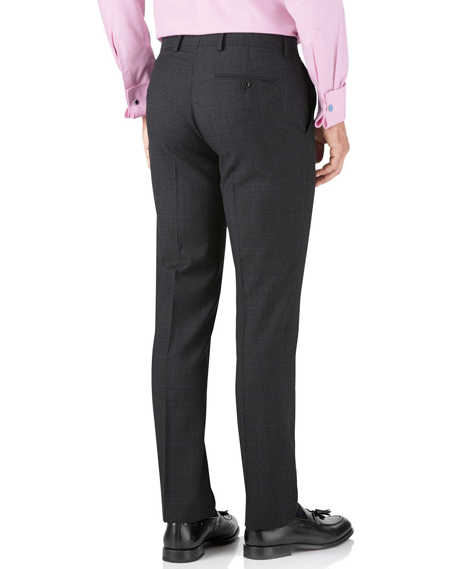 Charcoal slim fit sharkskin travel suit pants