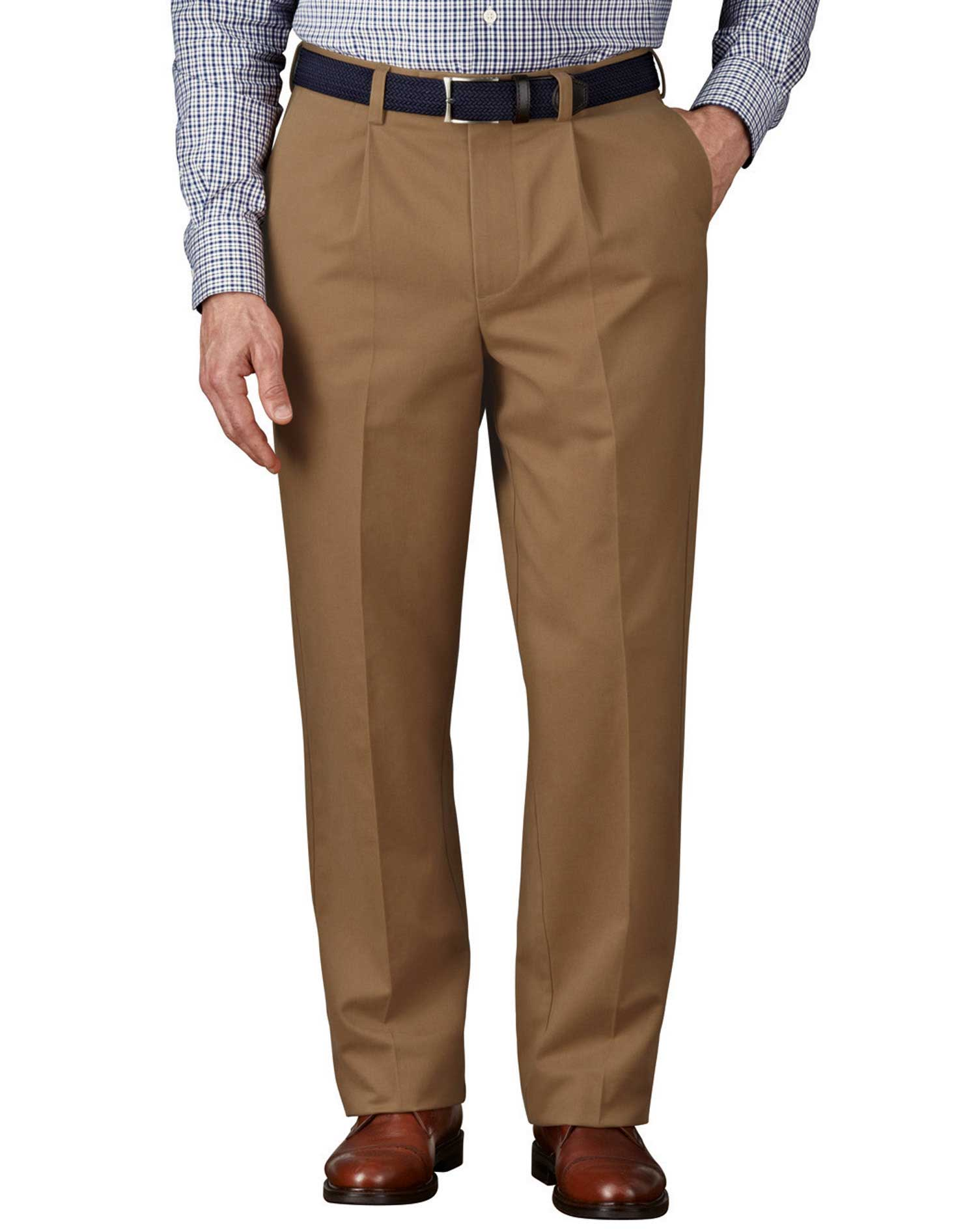 Camel Classic Fit Single Pleat Non-Iron Cotton Chino Trousers Size W38 L38 by Charles Tyrwhitt