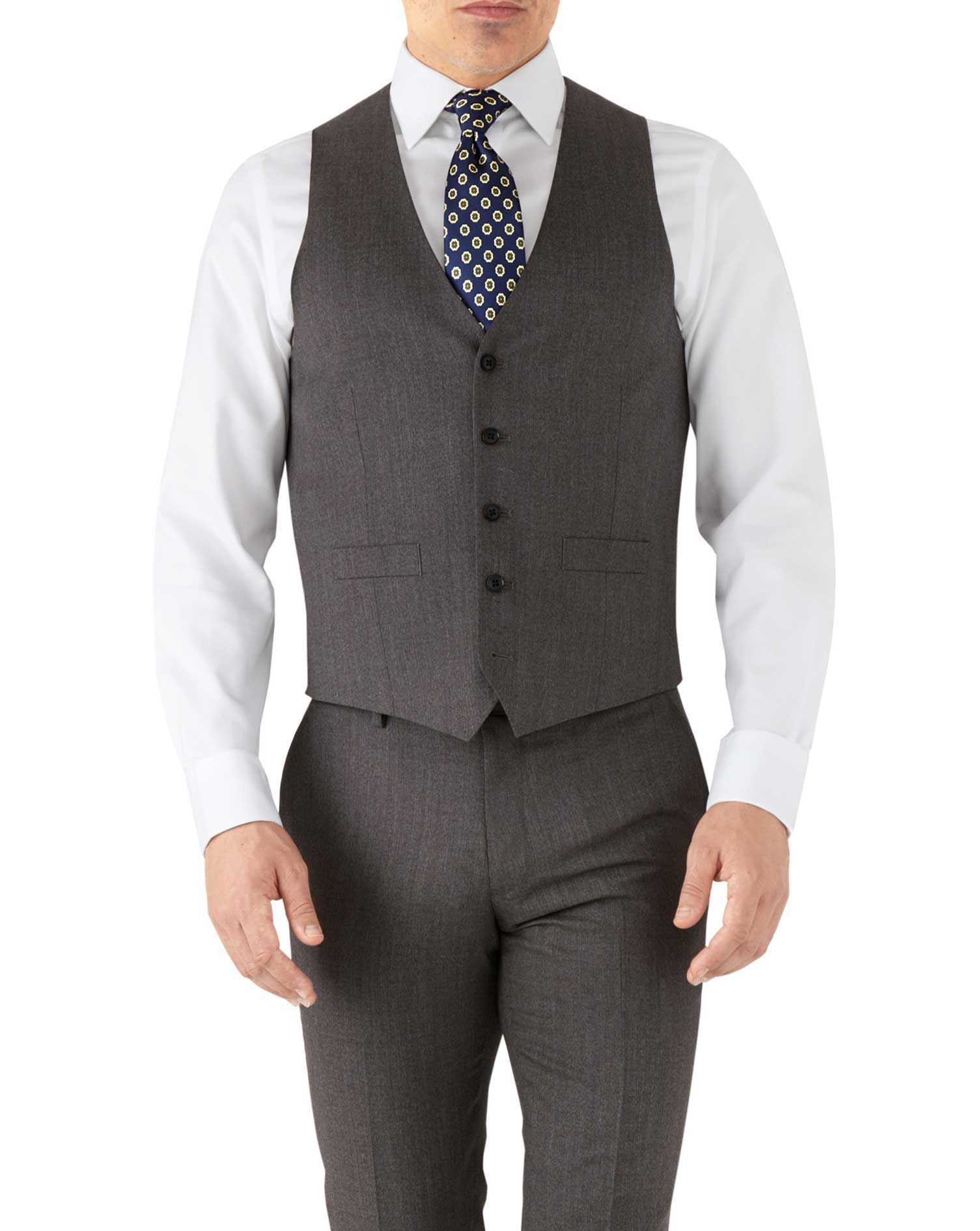 Mocha adjustable fit hairline business suit vest