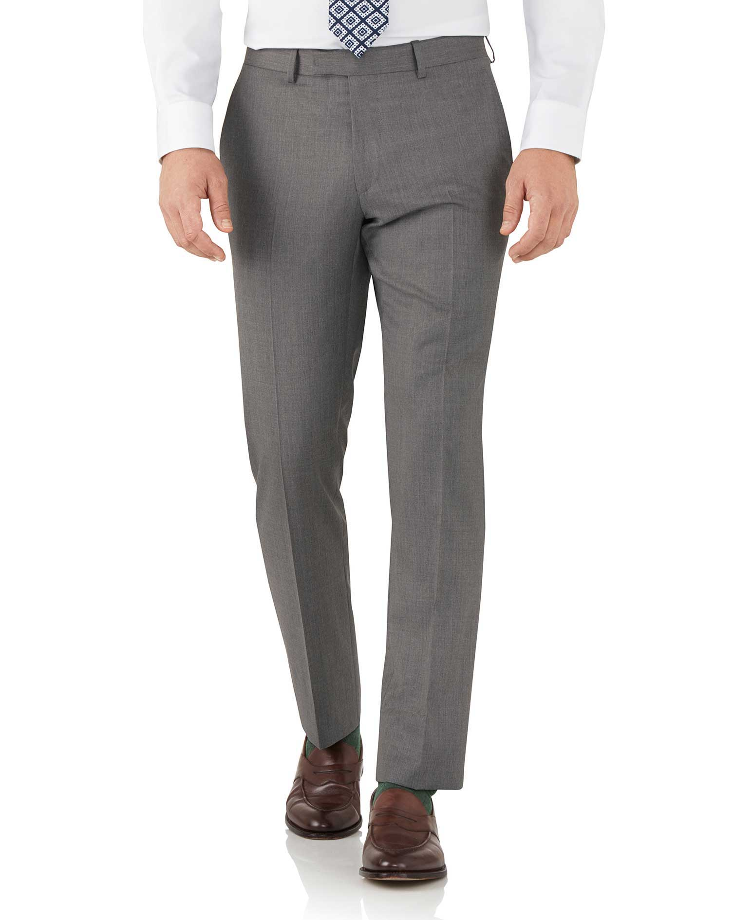 Grey Slim Fit Italian Suit Trousers Size W36 L32 by Charles Tyrwhitt