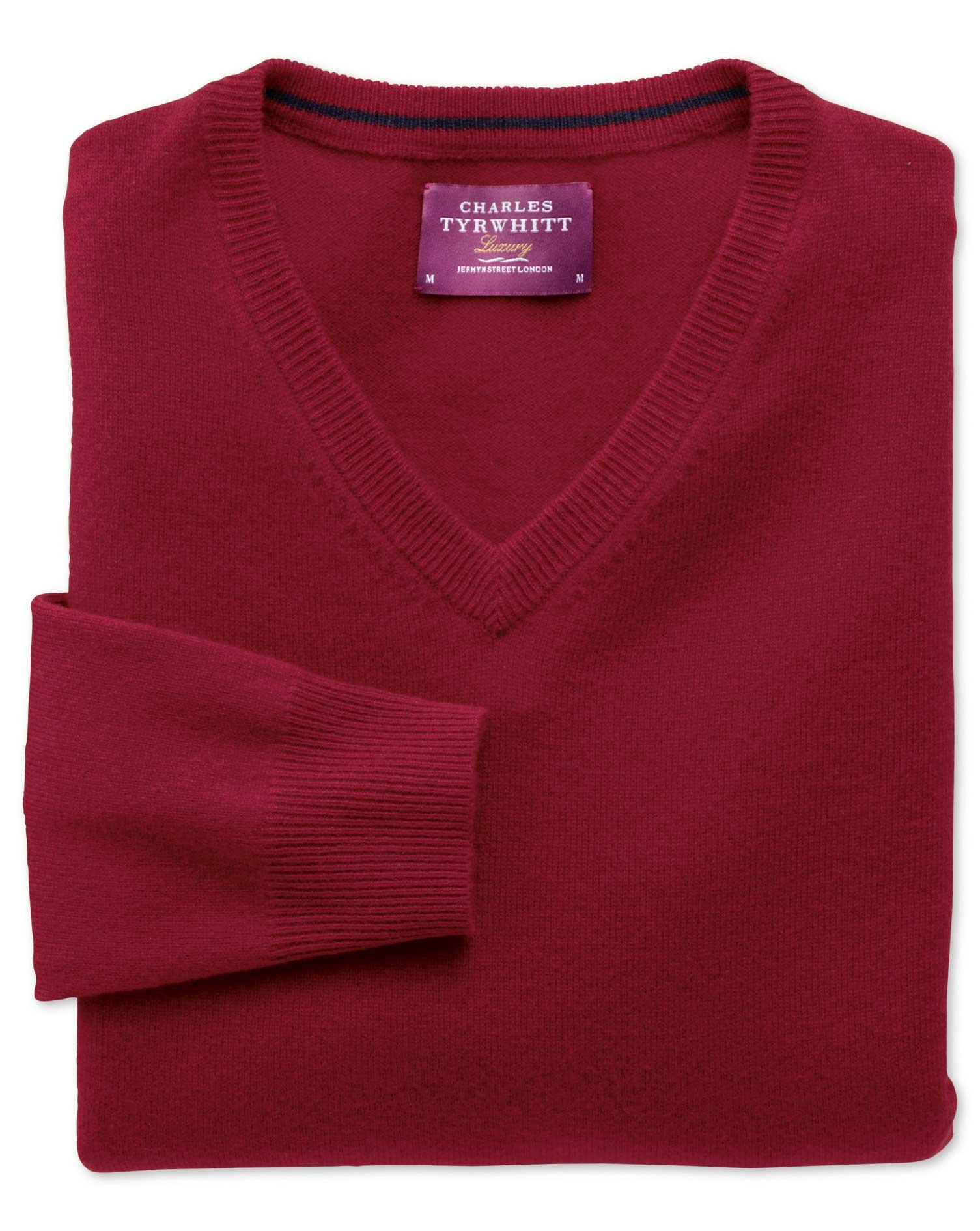 Red Cashmere V-Neck Jumper Size XS by Charles Tyrwhitt