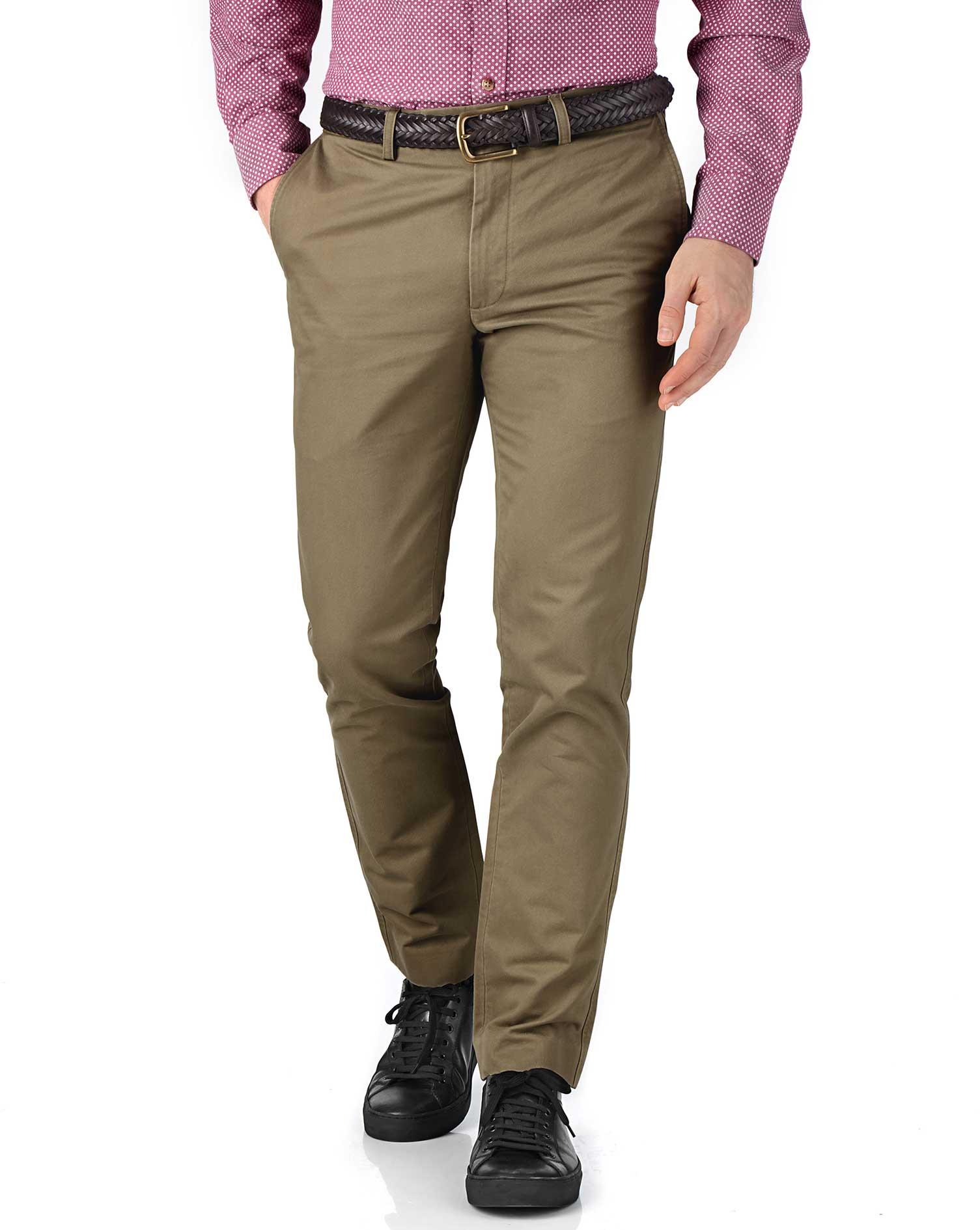 Beige Extra Slim Fit Flat Front Cotton Chino Trousers Size W30 L38 by Charles Tyrwhitt