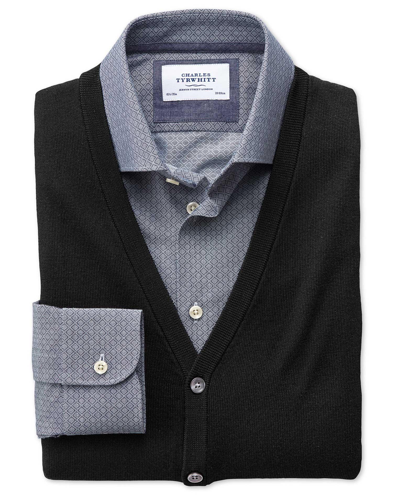 Black Merino Wool Waistcoat Size Small by Charles Tyrwhitt