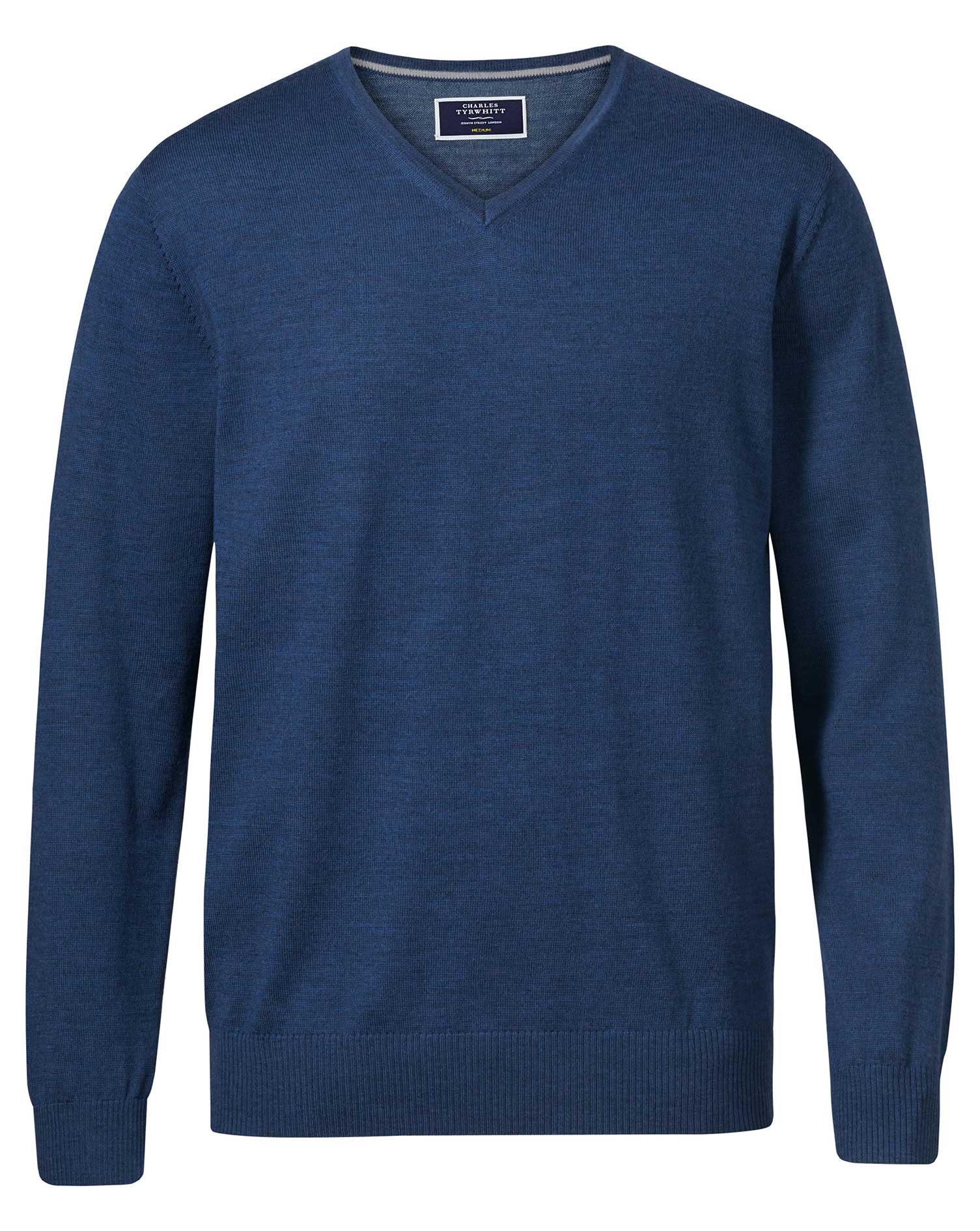 Mid Blue Merino Wool V-Neck Jumper Size Large by Charles Tyrwhitt
