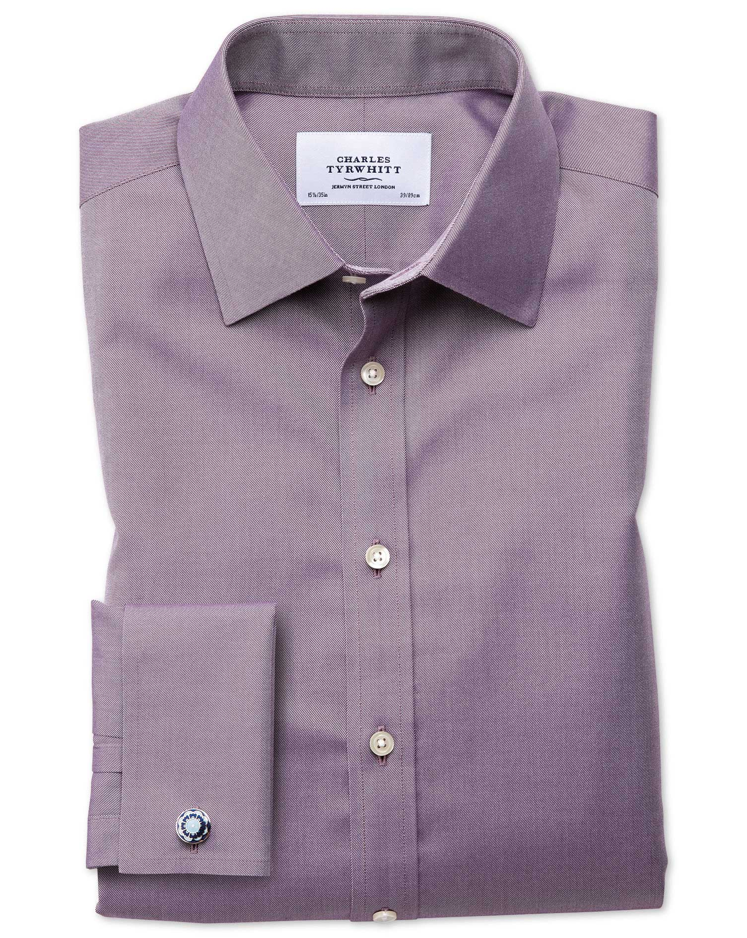 Classic Fit Non-Iron Twill Dark Purple Cotton Formal Shirt Double Cuff Size 16/34 by Charles Tyrwhit