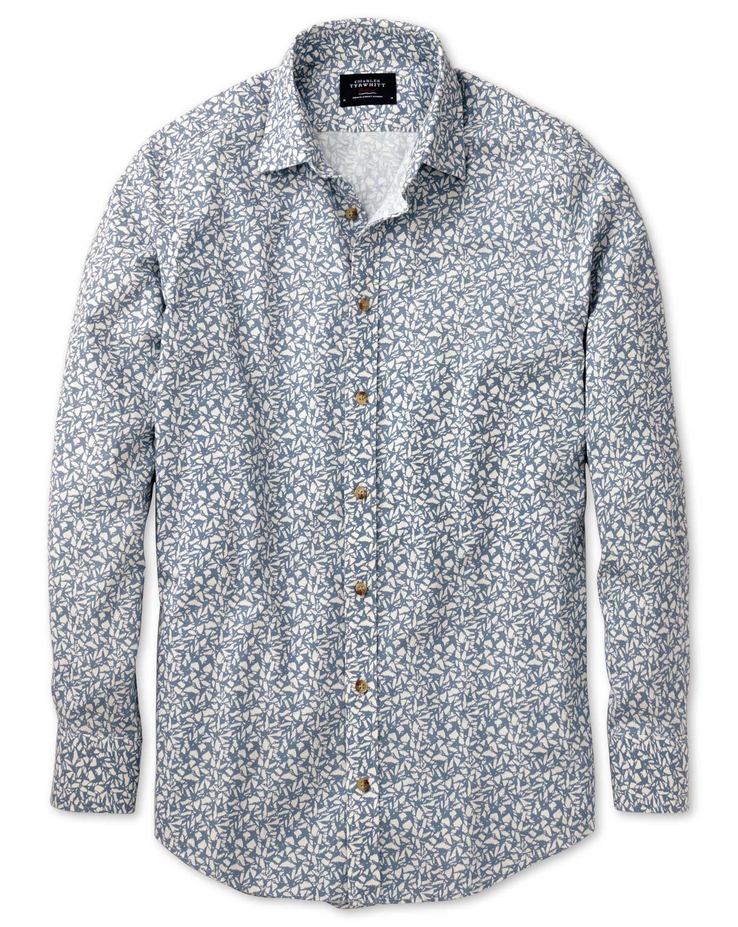Classic Fit Sky Blue Leaf Print Shirt Single Cuff Size Small by Charles Tyrwhitt
