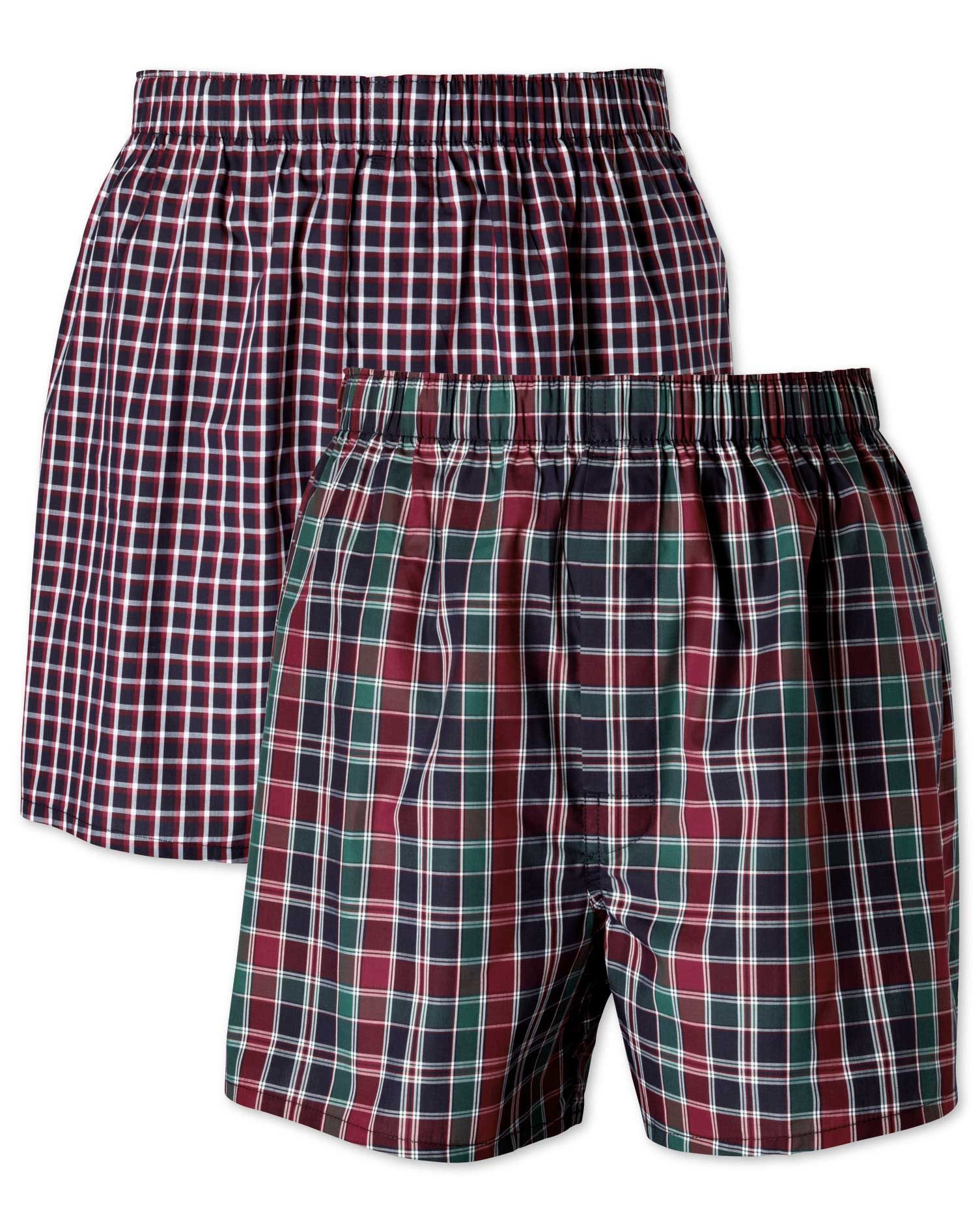 Navy Check 2 Pack Boxers Size XXXL by Charles Tyrwhitt