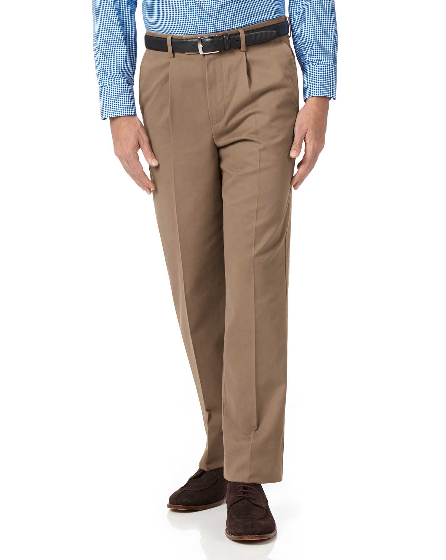 Tan Classic Fit Single Pleat Non-Iron Cotton Chino Trousers Size W40 L34 by Charles Tyrwhitt