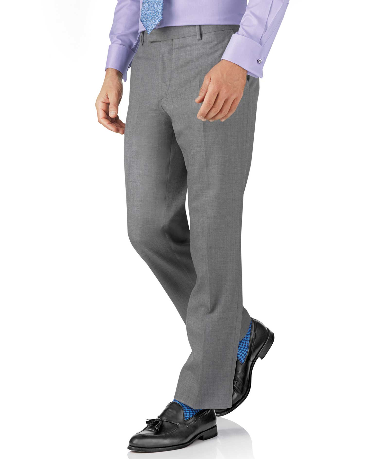 Silver classic fit British Panama luxury suit pants