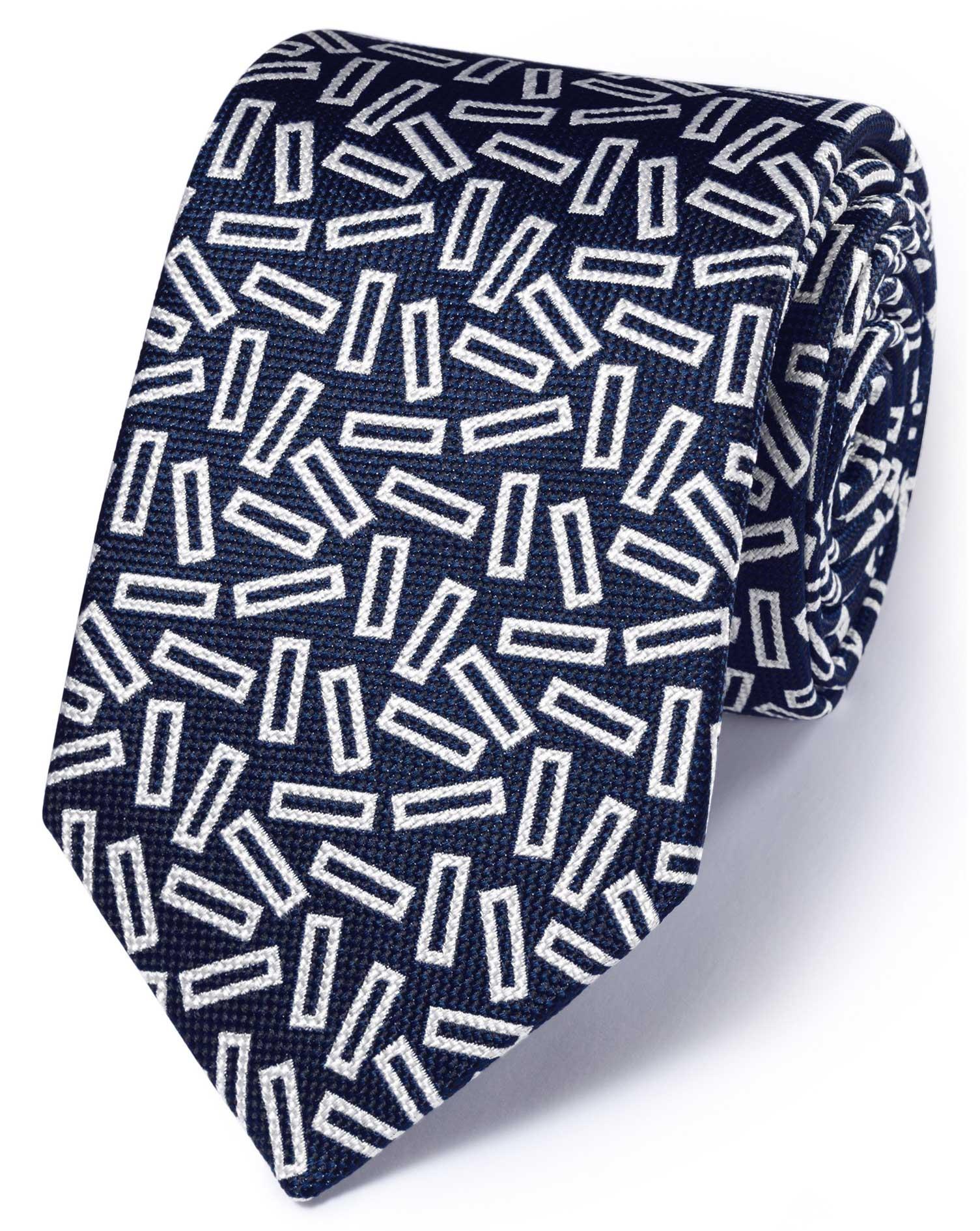 cravate de luxe bleu roi et blanche en soie anglaise fil fil charles tyrwhitt. Black Bedroom Furniture Sets. Home Design Ideas