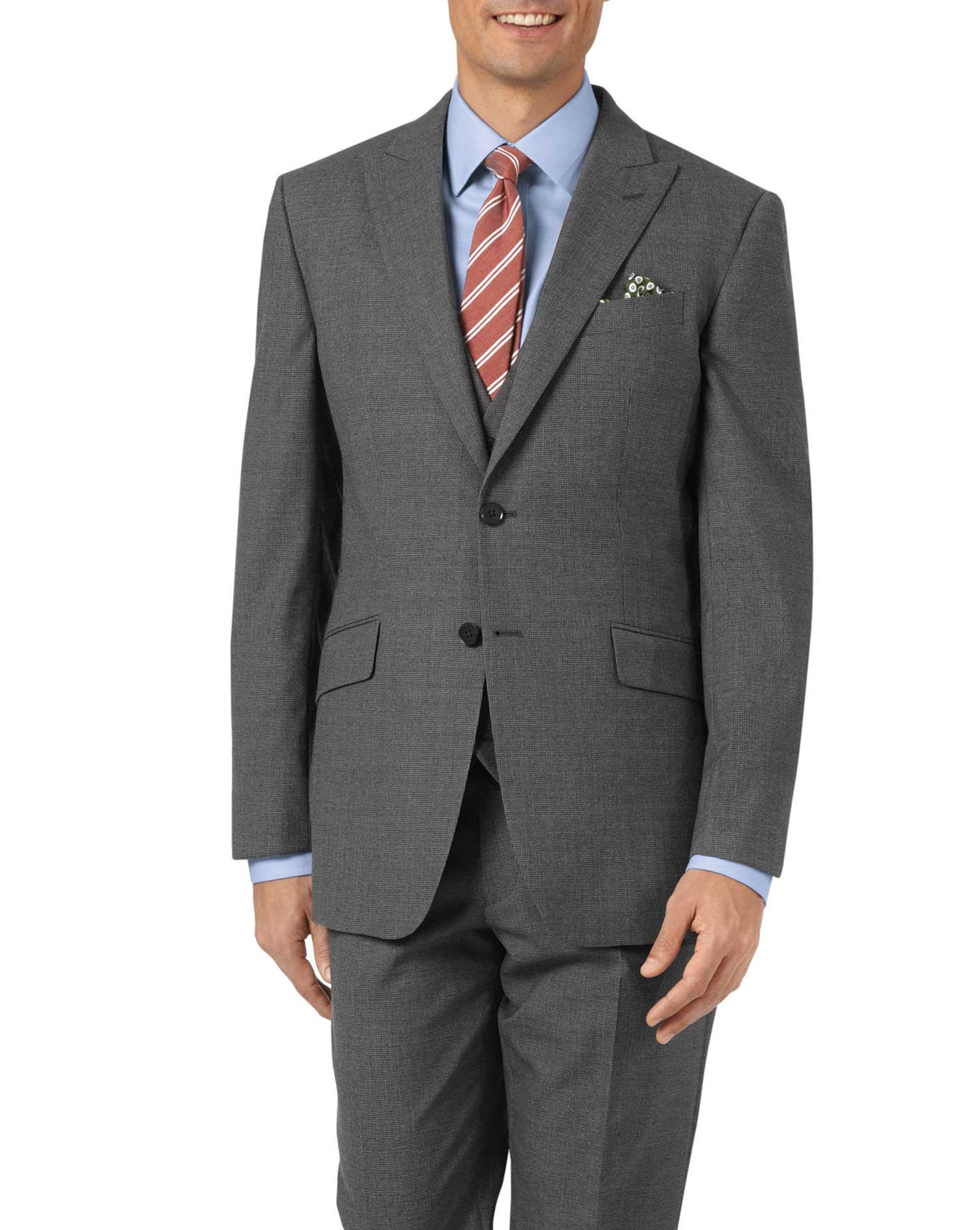 Charcoal Slim Fit Panama Puppytooth Business Suit Wool Jacket Size 38 Long by Charles Tyrwhitt