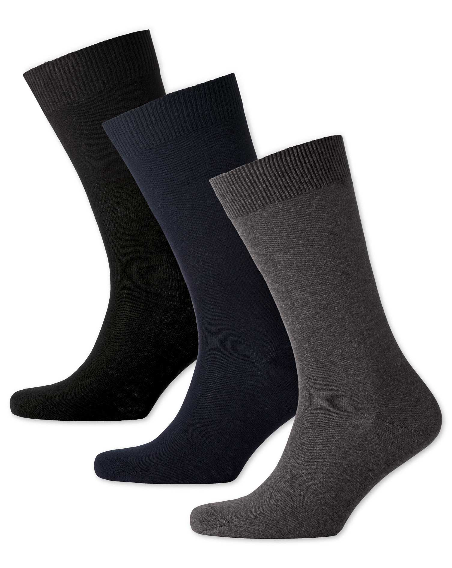 Multi Cotton Rich 3 Pack Socks Size Large by Charles Tyrwhitt