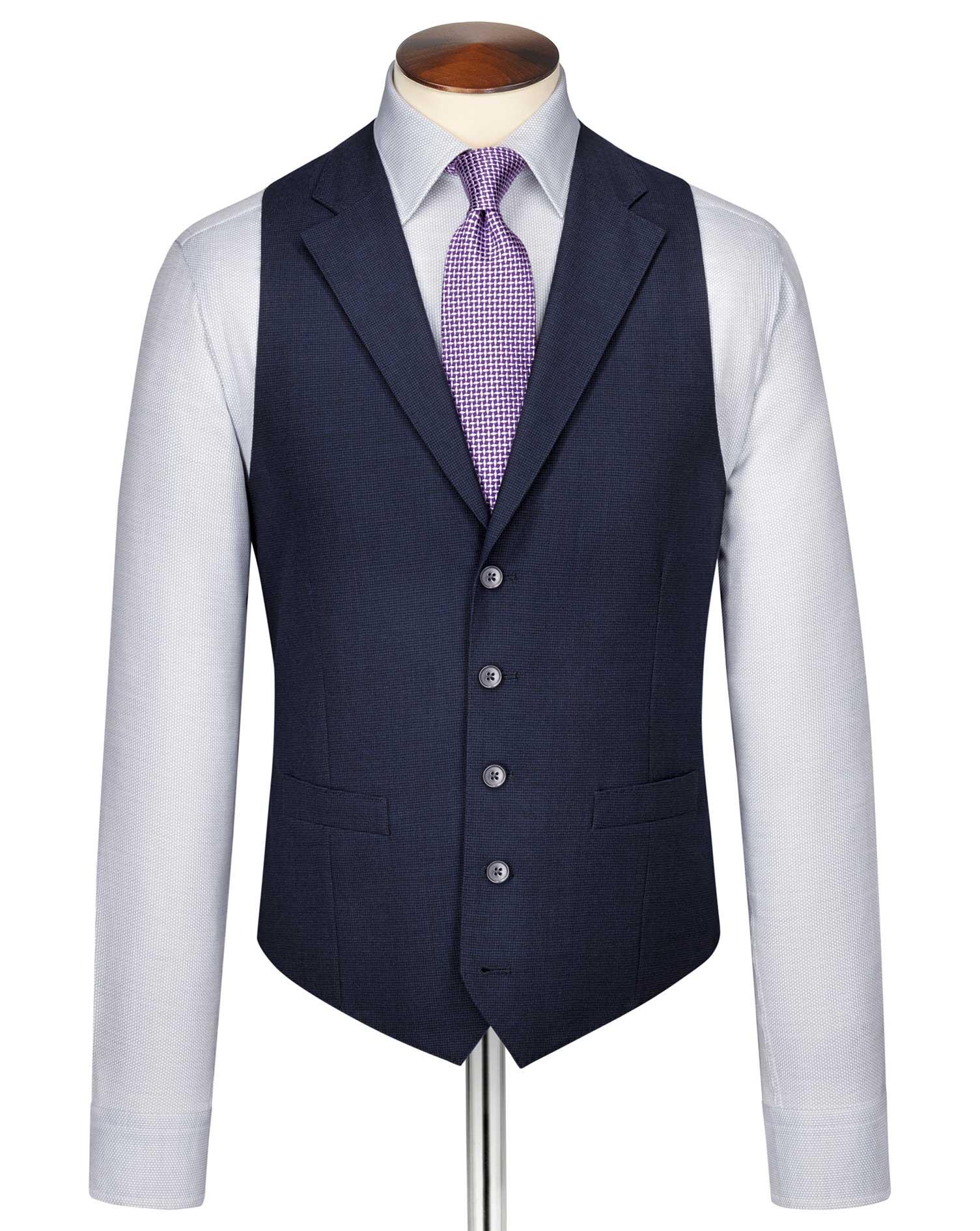 Indigo Blue Puppytooth Panama Business Suit Wool Waistcoat Size w42 by Charles Tyrwhitt