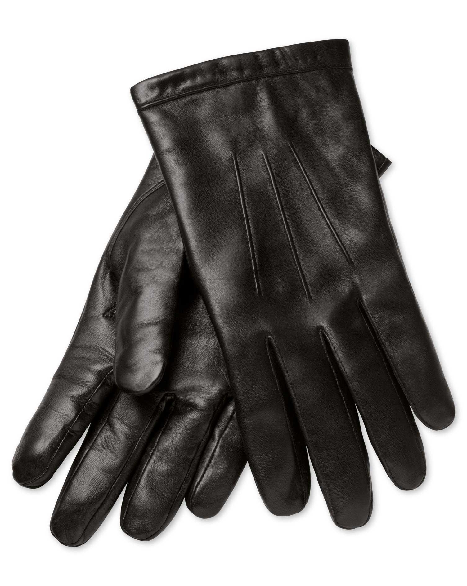 Black Leather Gloves Size Medium by Charles Tyrwhitt