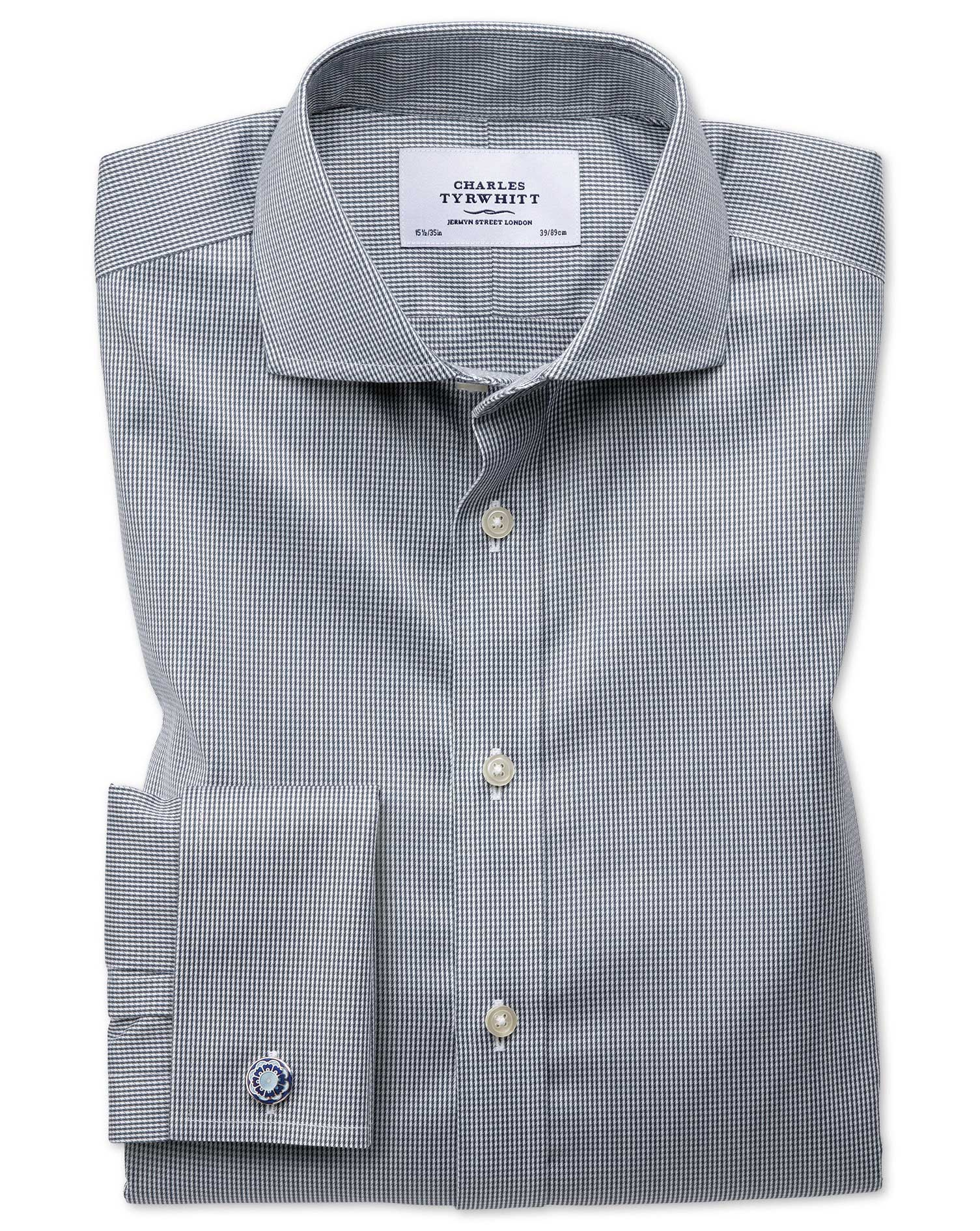 Slim Fit Cutaway Non-Iron Puppytooth Dark Grey Cotton Formal Shirt Double Cuff Size 16.5/36 by Charl