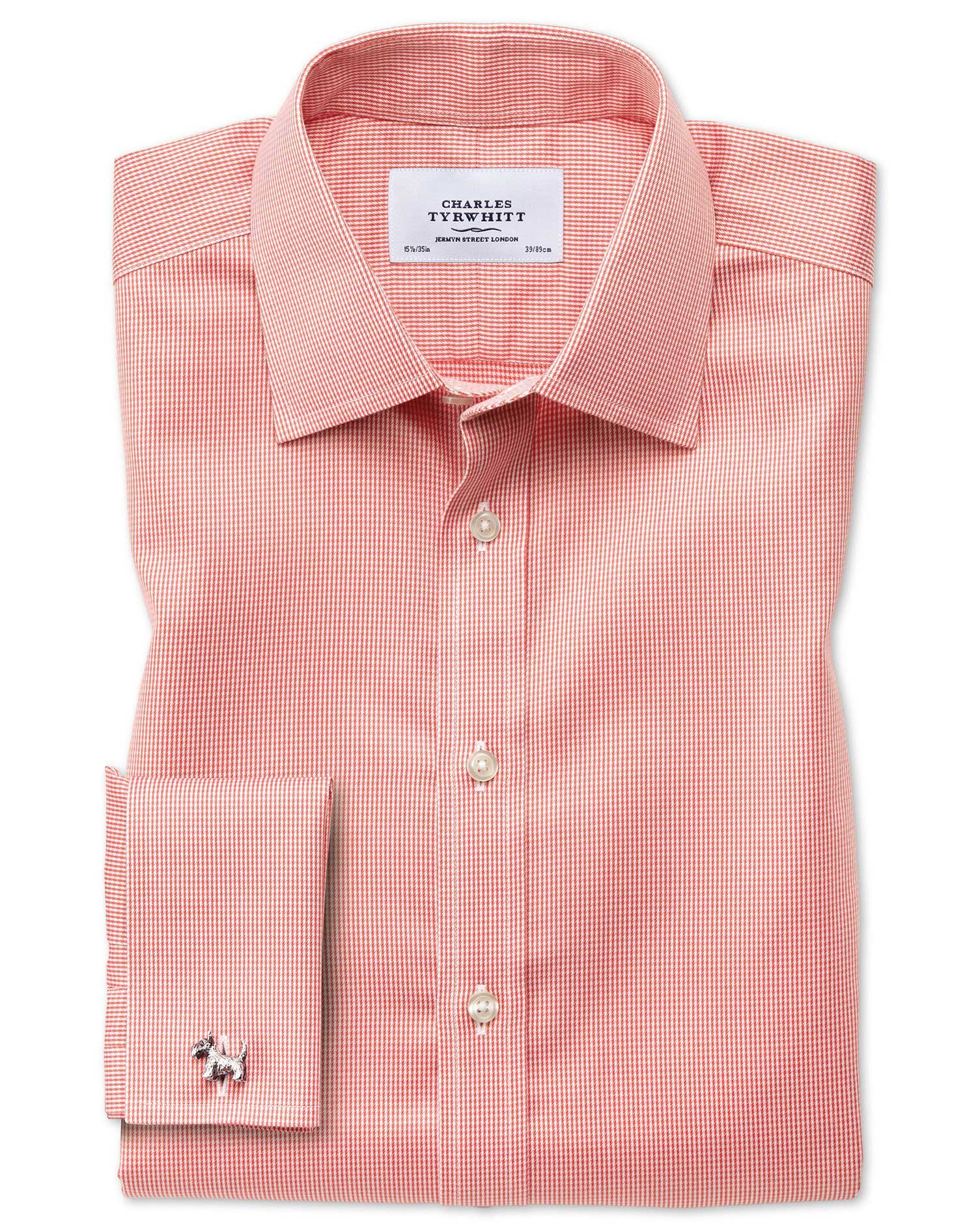 Classic Fit Non-Iron Puppytooth Coral Cotton Formal Shirt Double Cuff Size 15.5/33 by Charles Tyrwhi