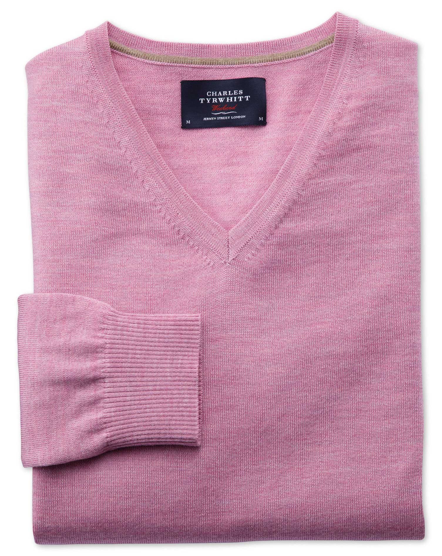 Light Pink Merino Wool V-Neck Jumper Size XL by Charles Tyrwhitt